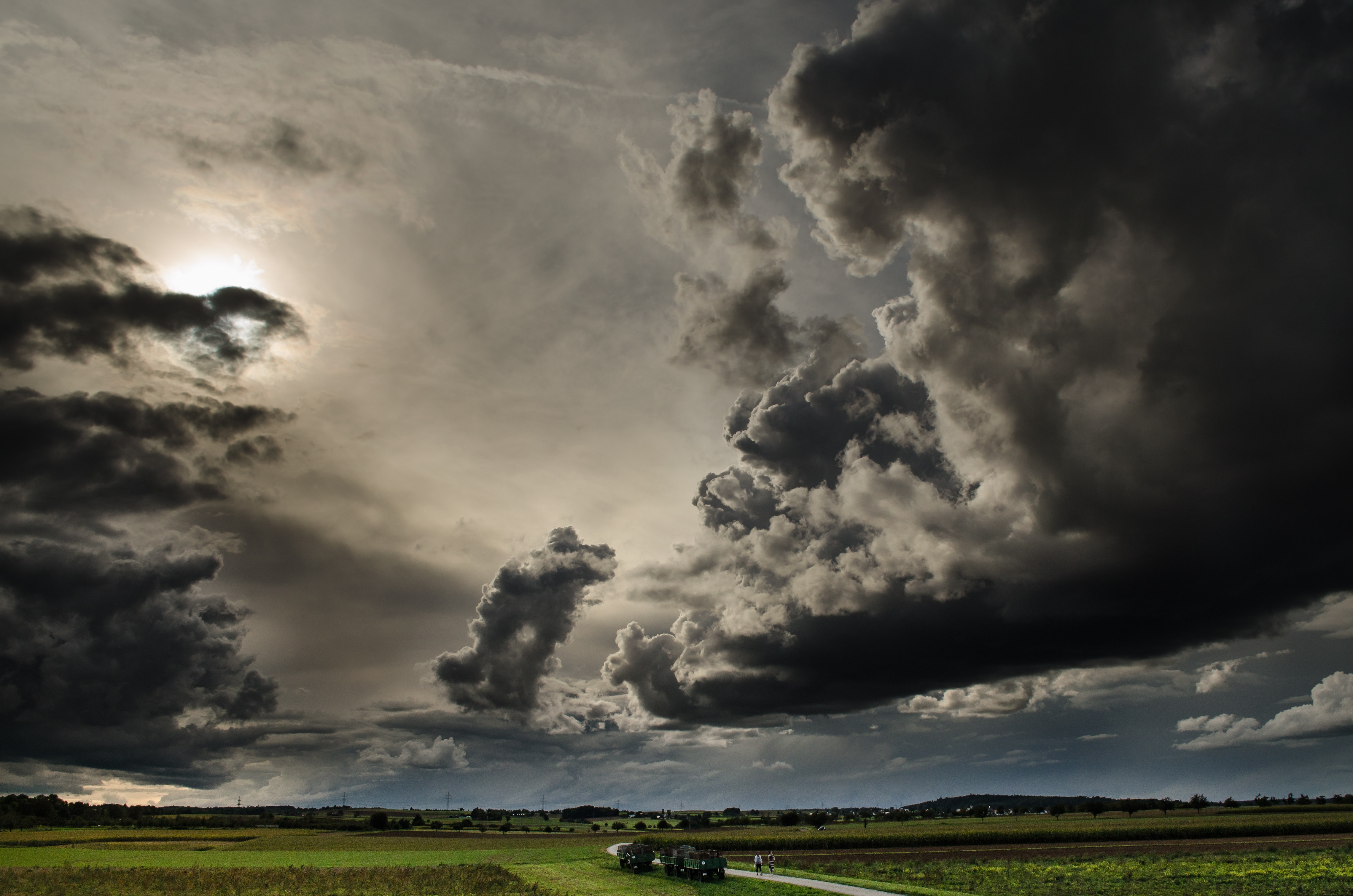 Cloudy Sky, Clouds, Thunderstorm, Thunder, Sunset, HQ Photo
