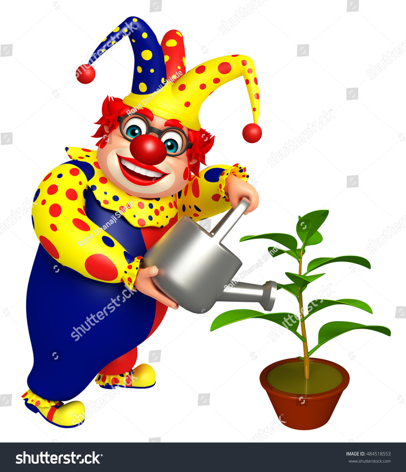 3d Rendered Illustration Clown Watering Can Stock Illustration ...