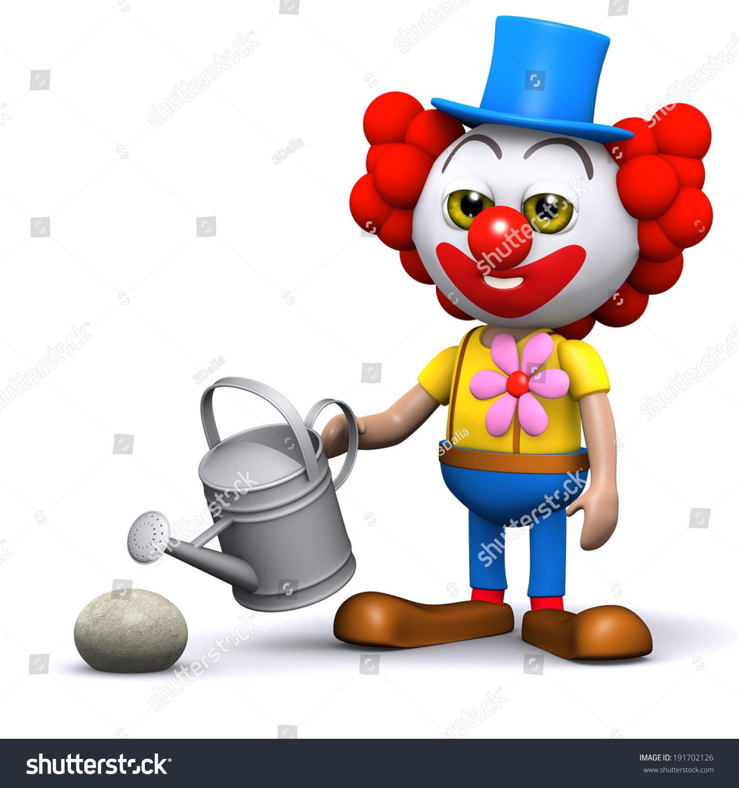 3d Render Clown Watering Rock Stock Illustration 191702126 ...