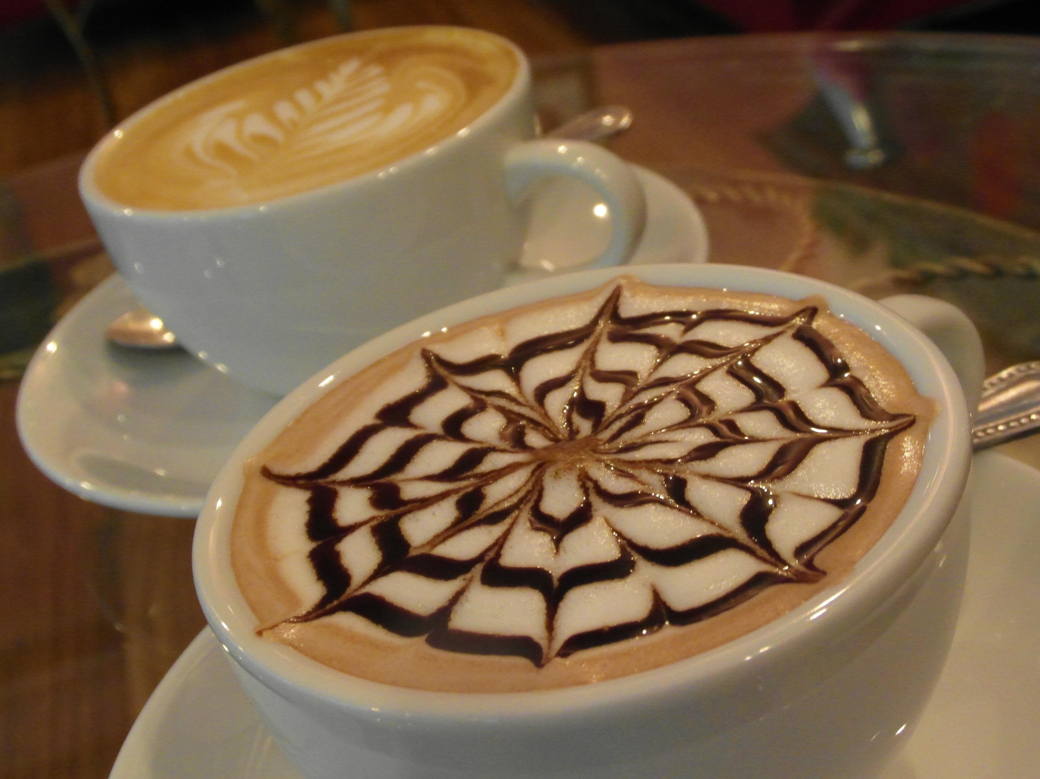 Coffee Art Patterns, Art, Leaf, Foam, Froth, HQ Photo
