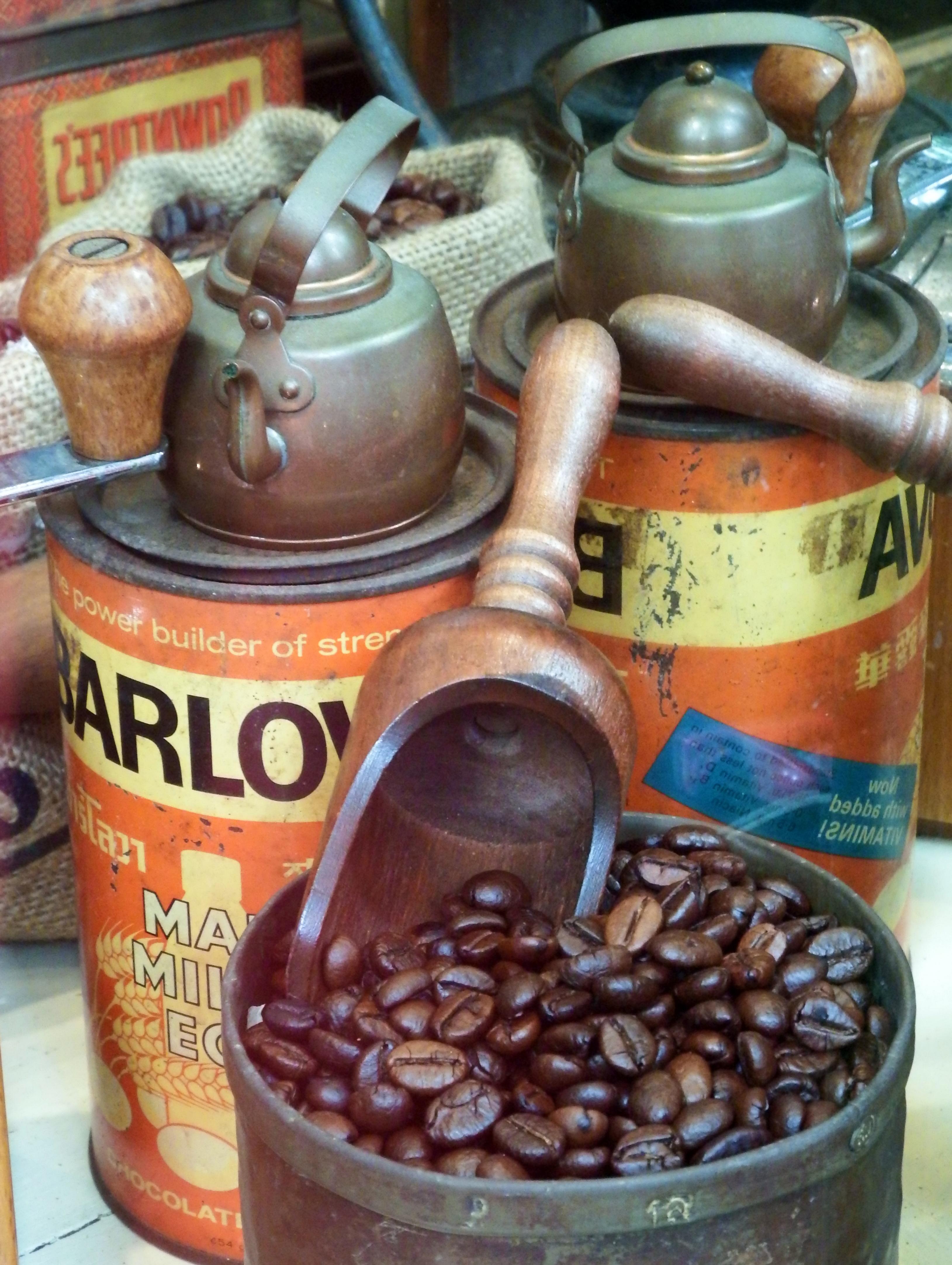 Coffee beans with vintage memorabilia photo
