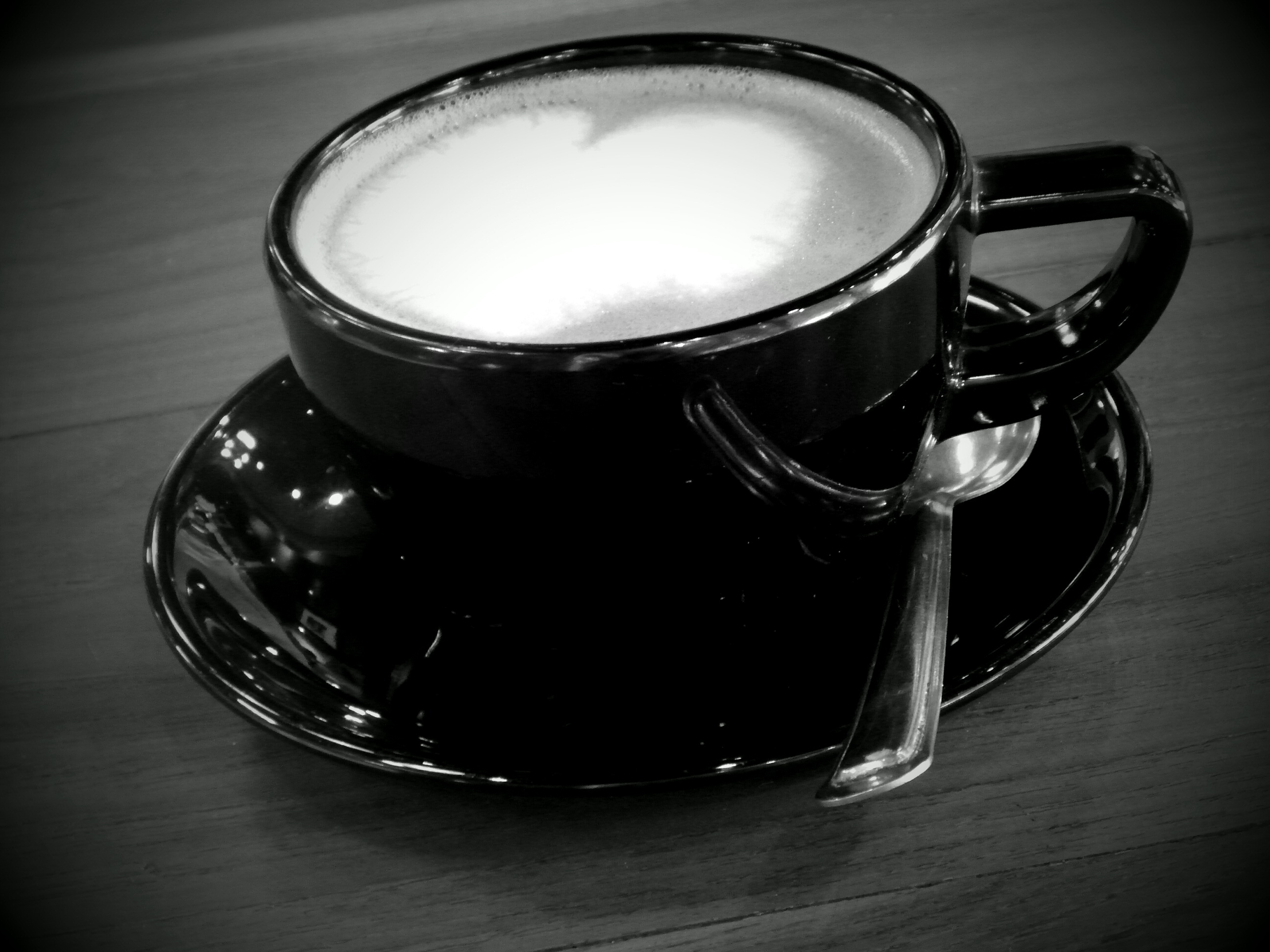 Coffee heart black and white photo