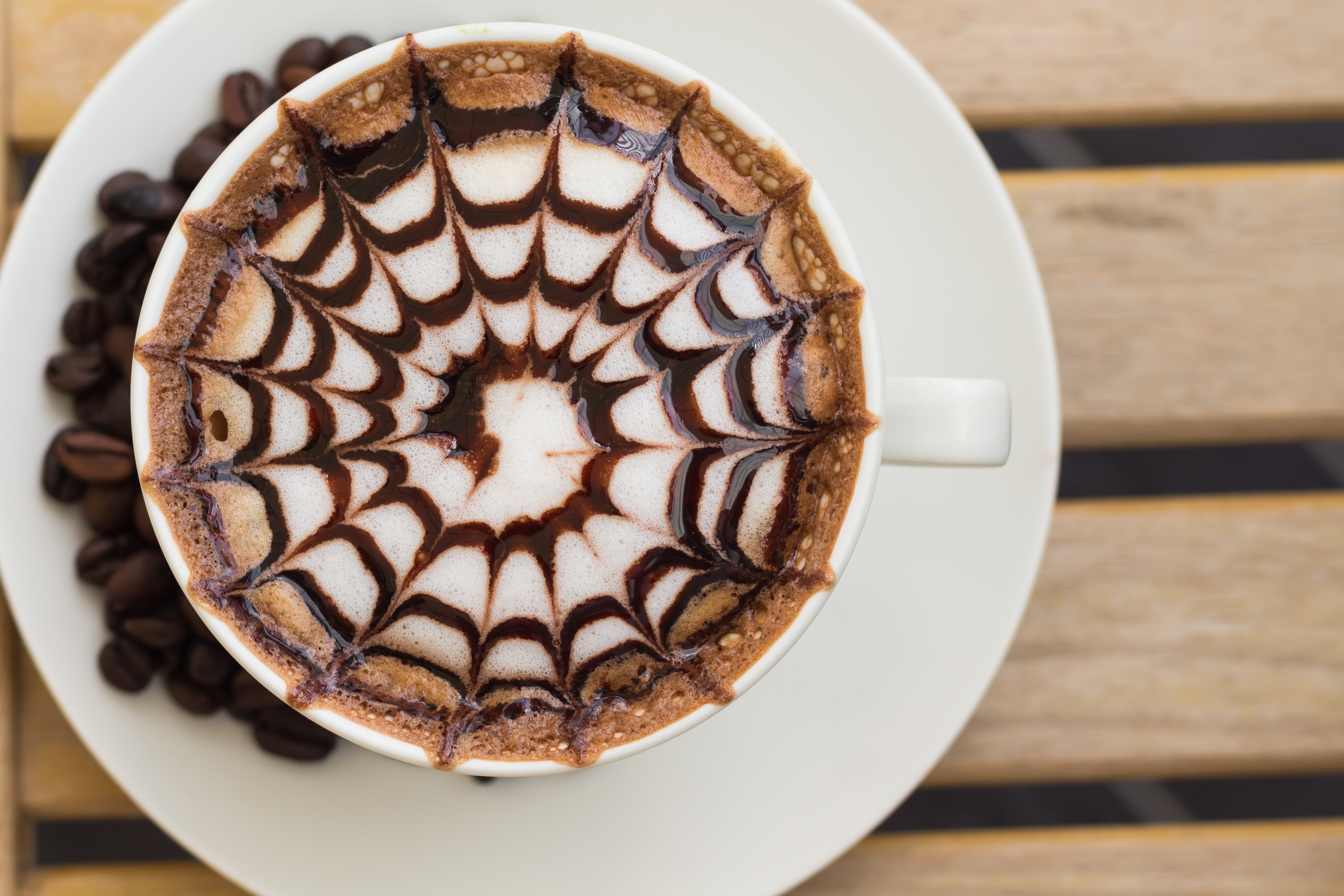 Coffee in White Ceramic Mug, Art, Espresso, Top view, Sweet, HQ Photo