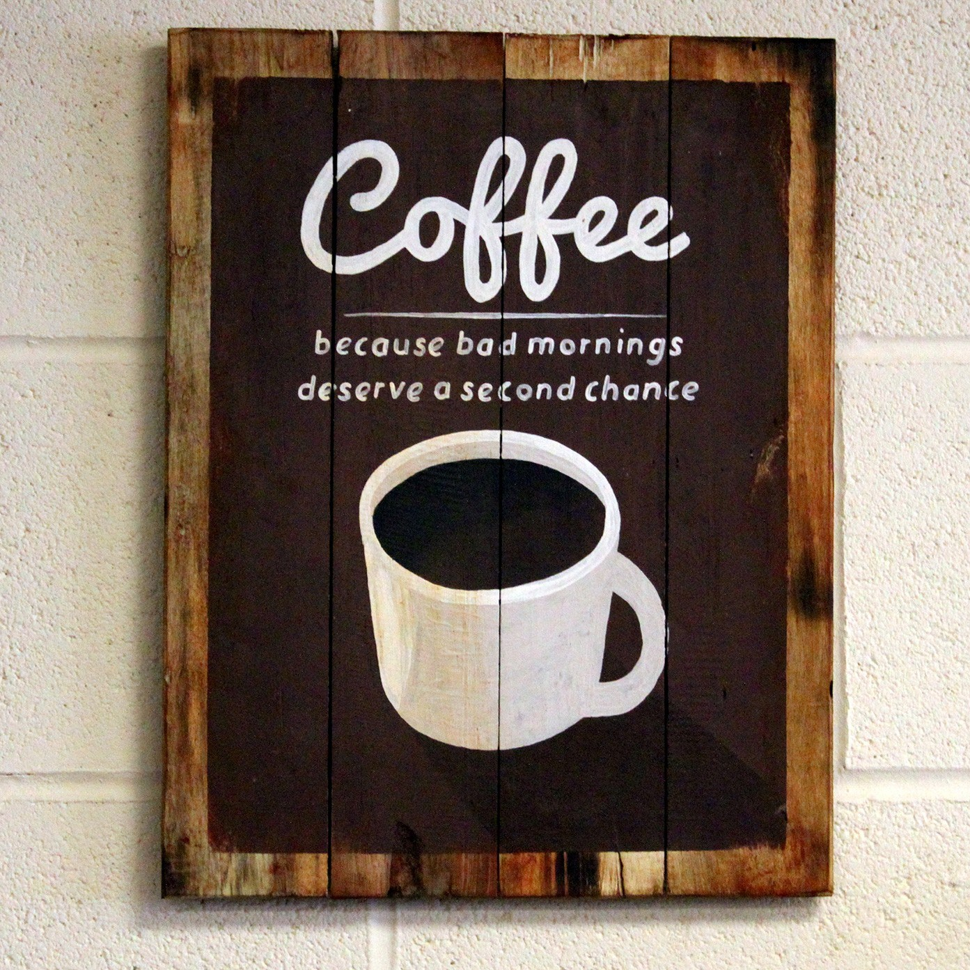 Bad Mornings Wooden Coffee Sign – testCaidnV4