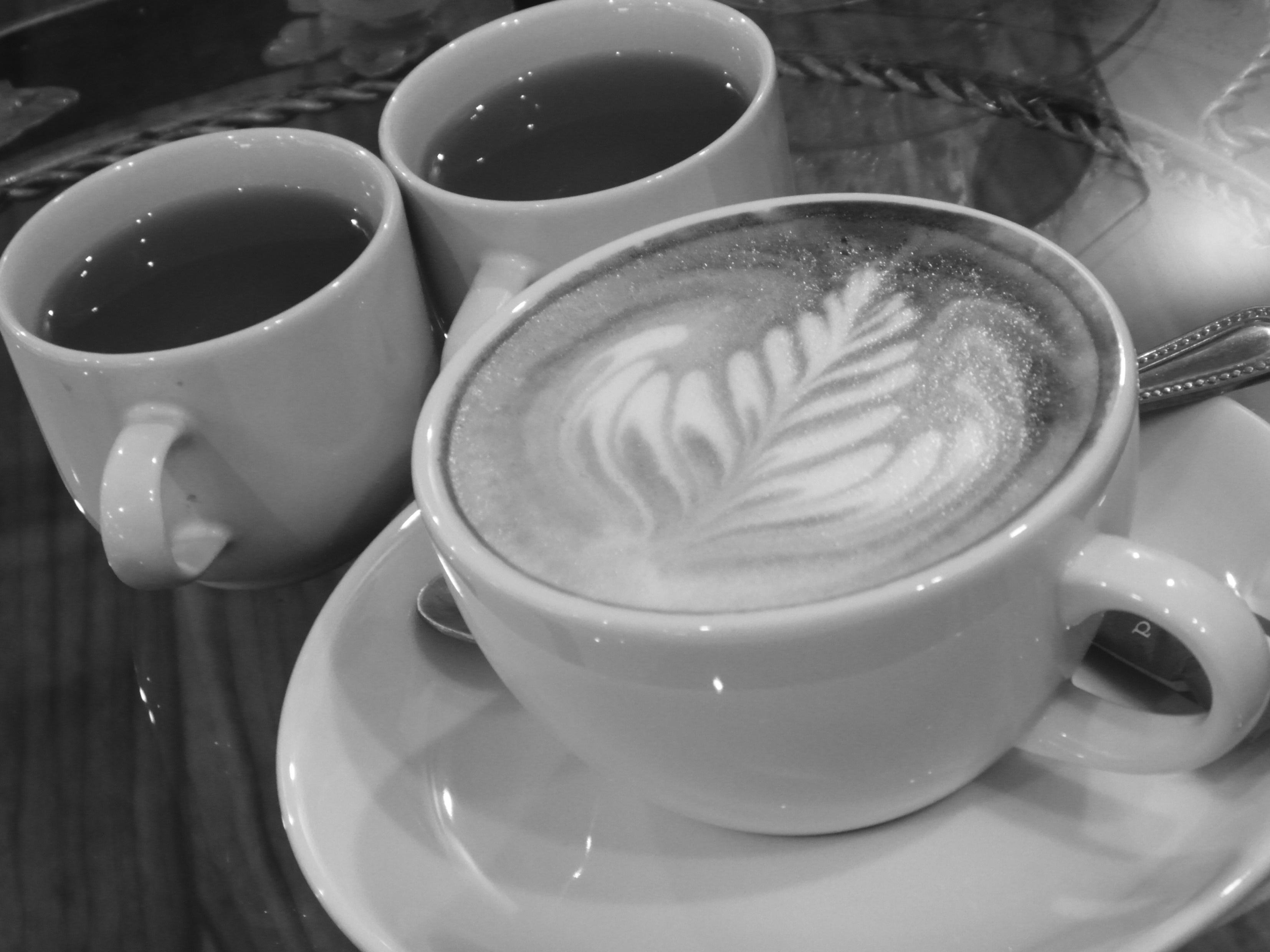 Coffee with Jasmine Tea b&w, Art, Leaf, Froth, Green, HQ Photo