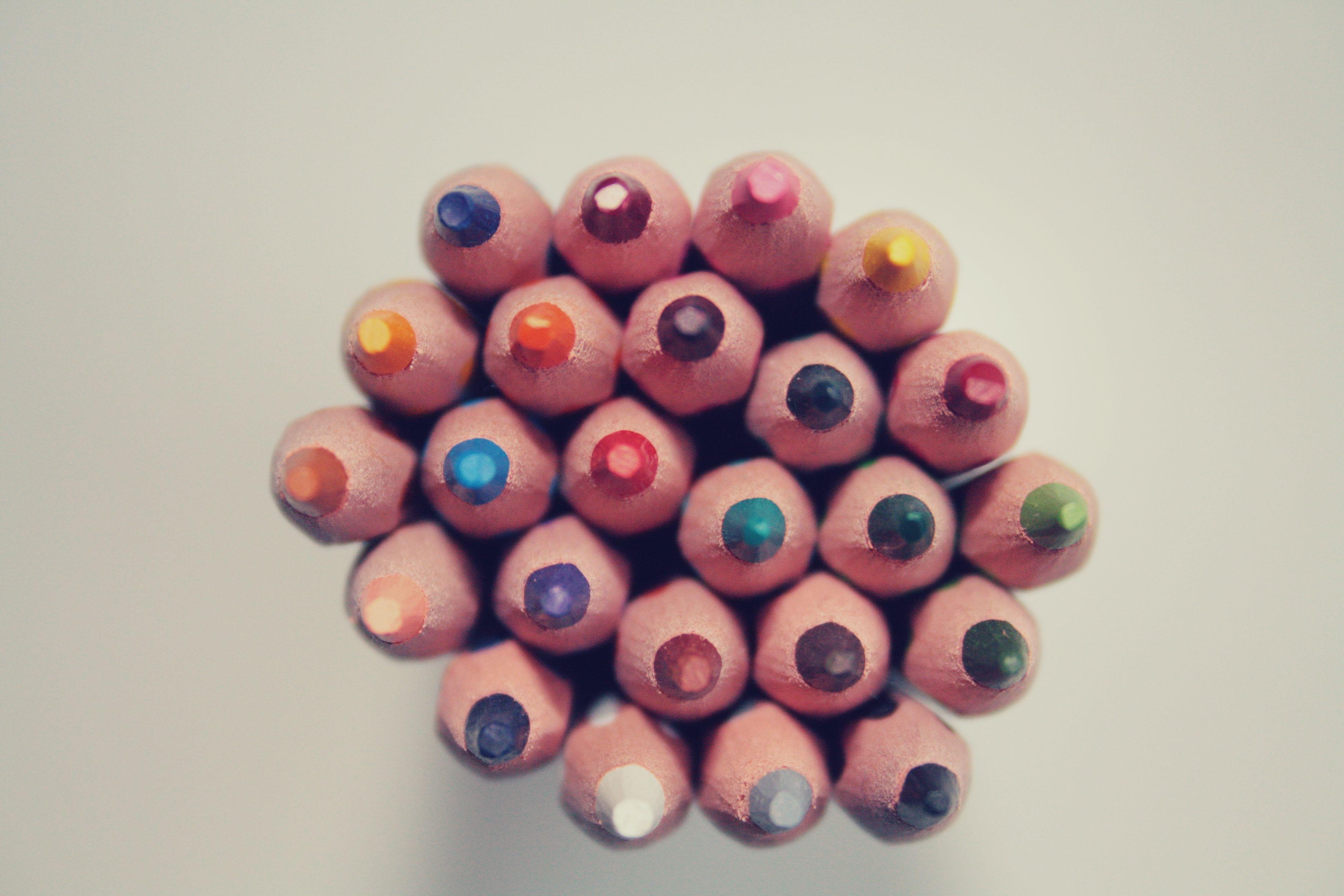 Color Pencils, Blue, Color, Orange, Pencil, HQ Photo