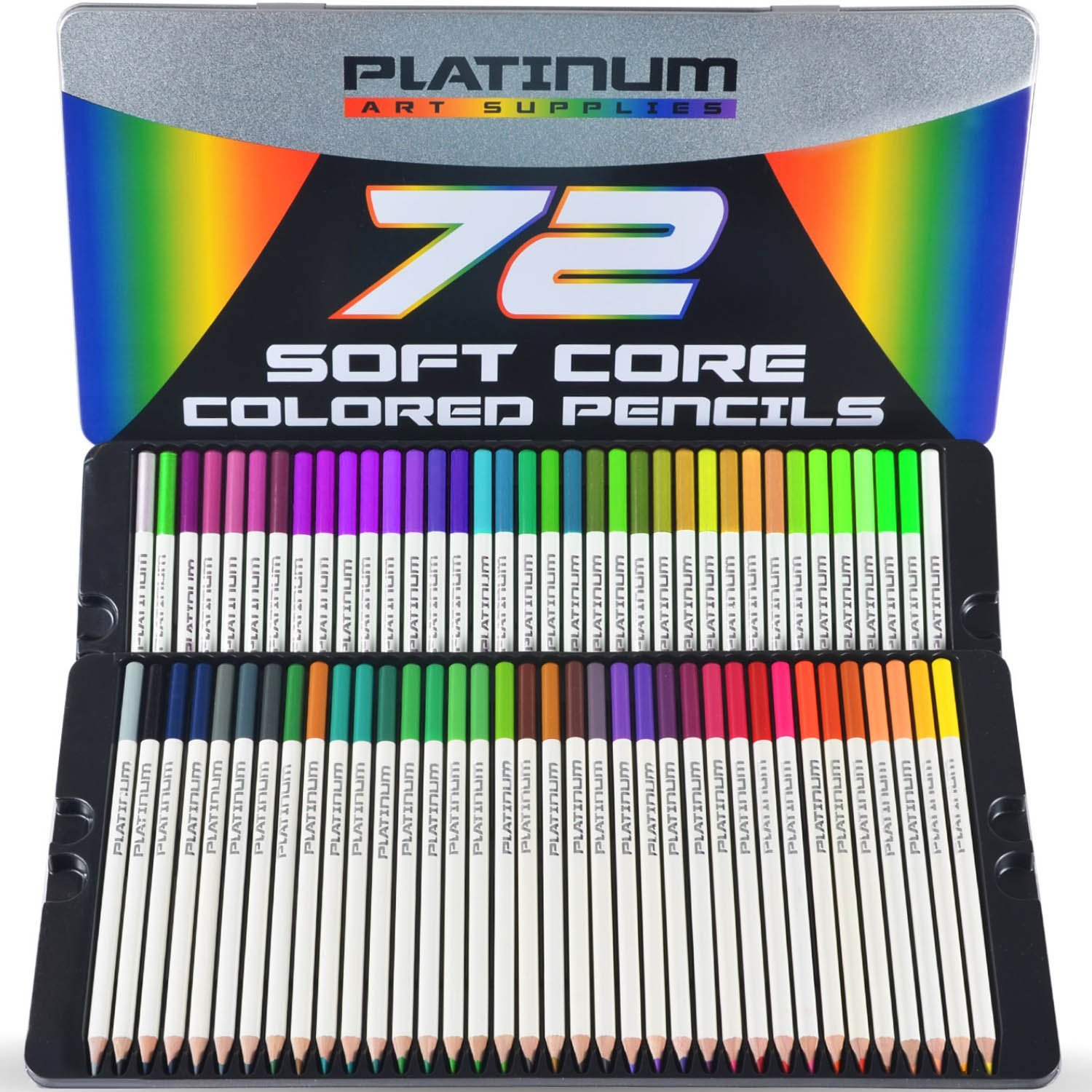 Amazon.com: Platinum Soft Core Colored Pencils with Tin Case, Pack of 72