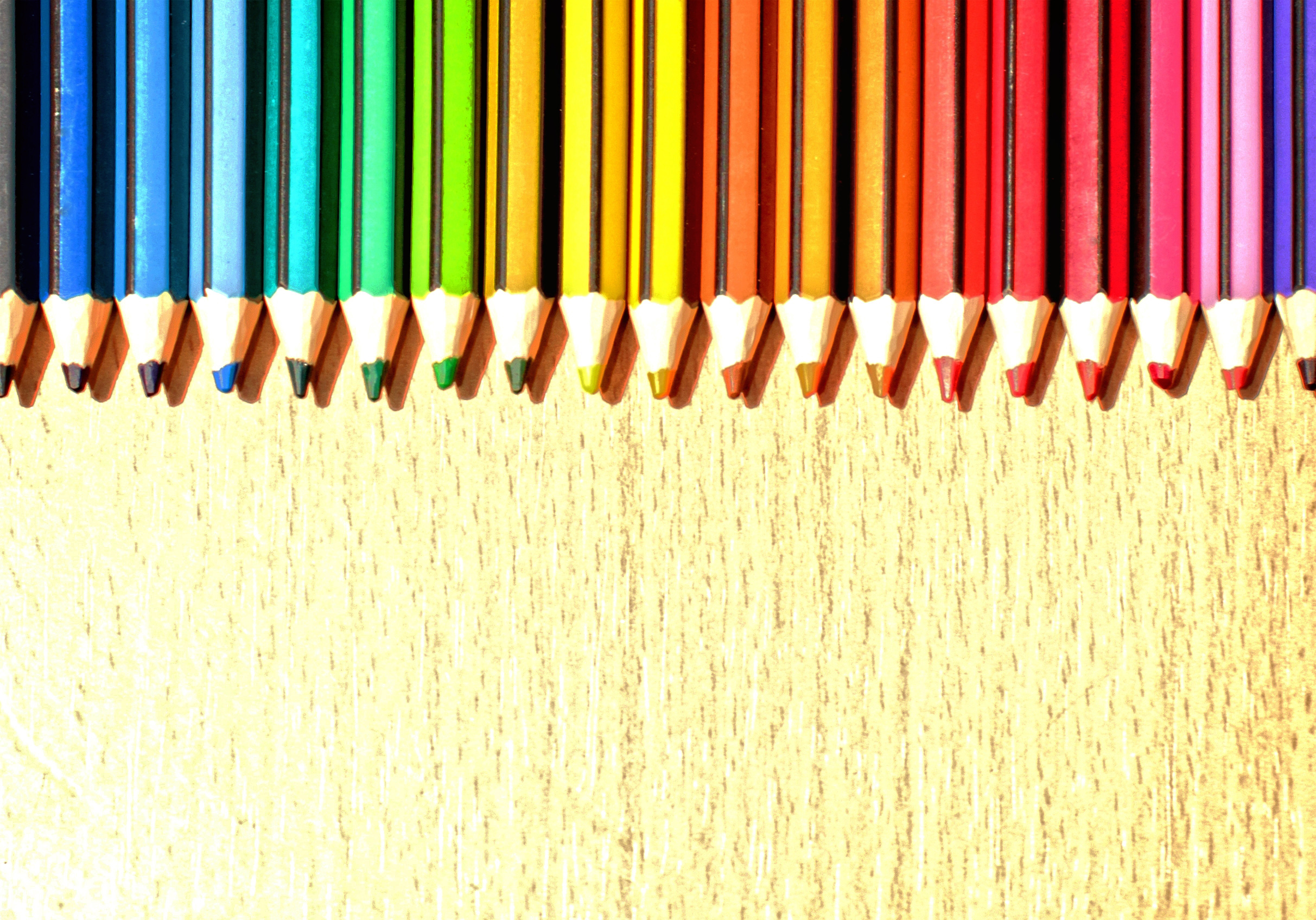 Color pencils in a row with copyspace photo