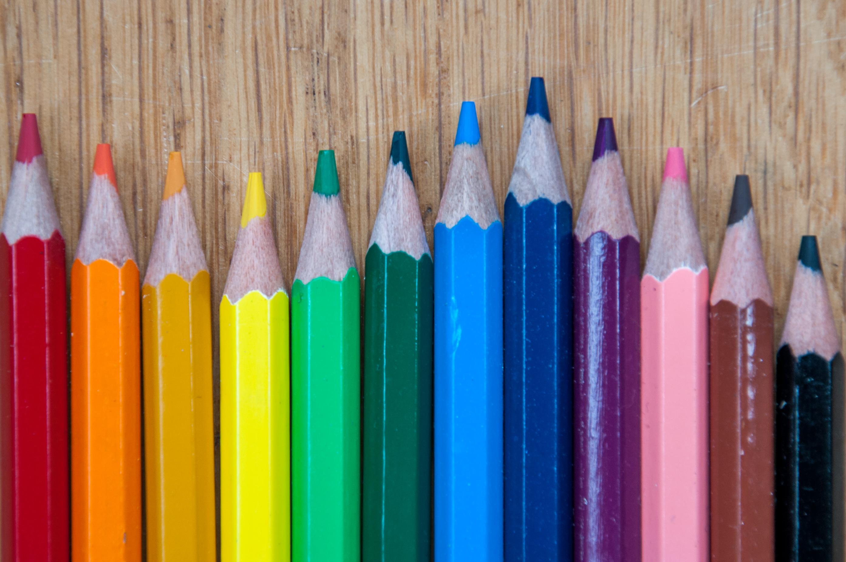 Color pencils, Arrangement, Red, Paint, Palette, HQ Photo