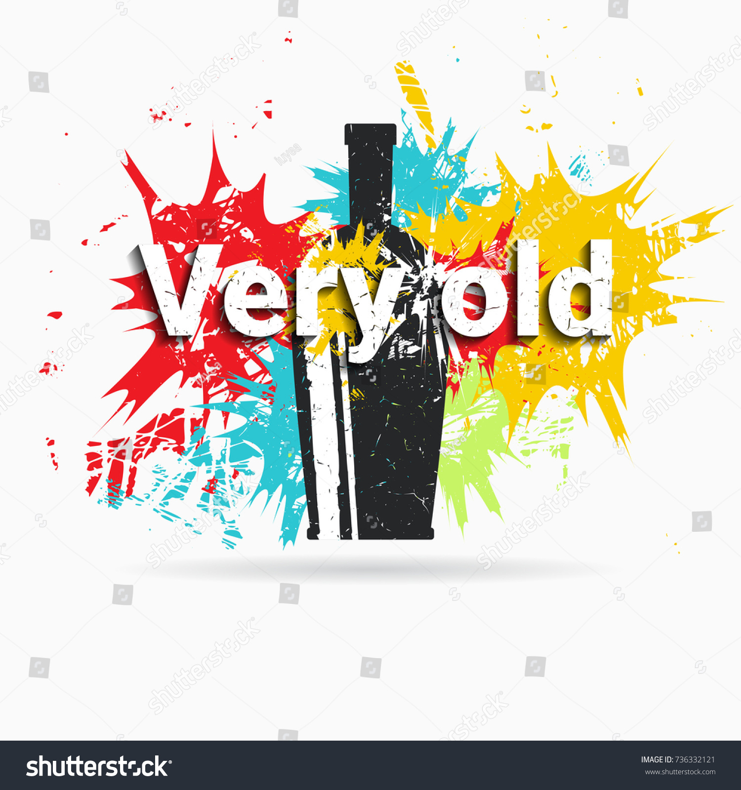 Bottle On Background Color Spots Grunge Stock Vector 736332121 ...
