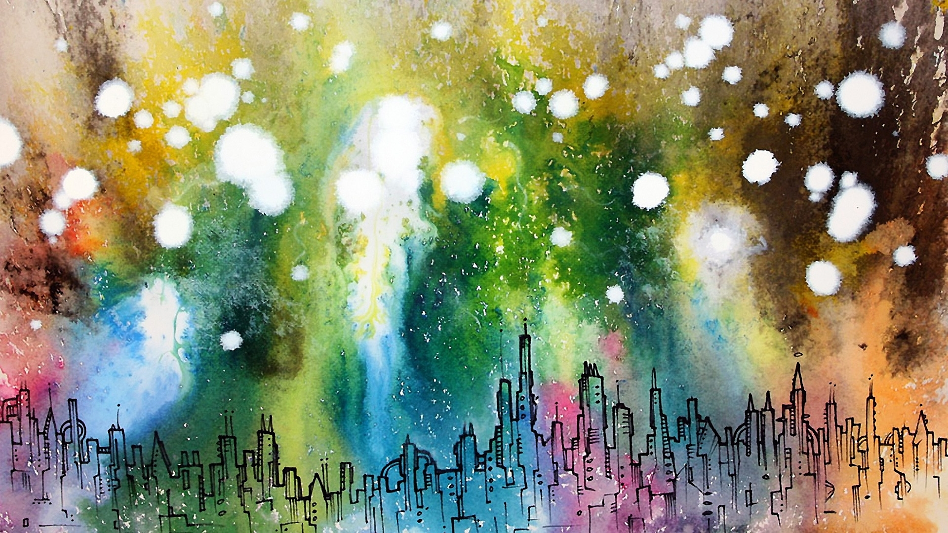 Cityscapes artwork abstract cities color spots wallpaper | 1920x1080 ...