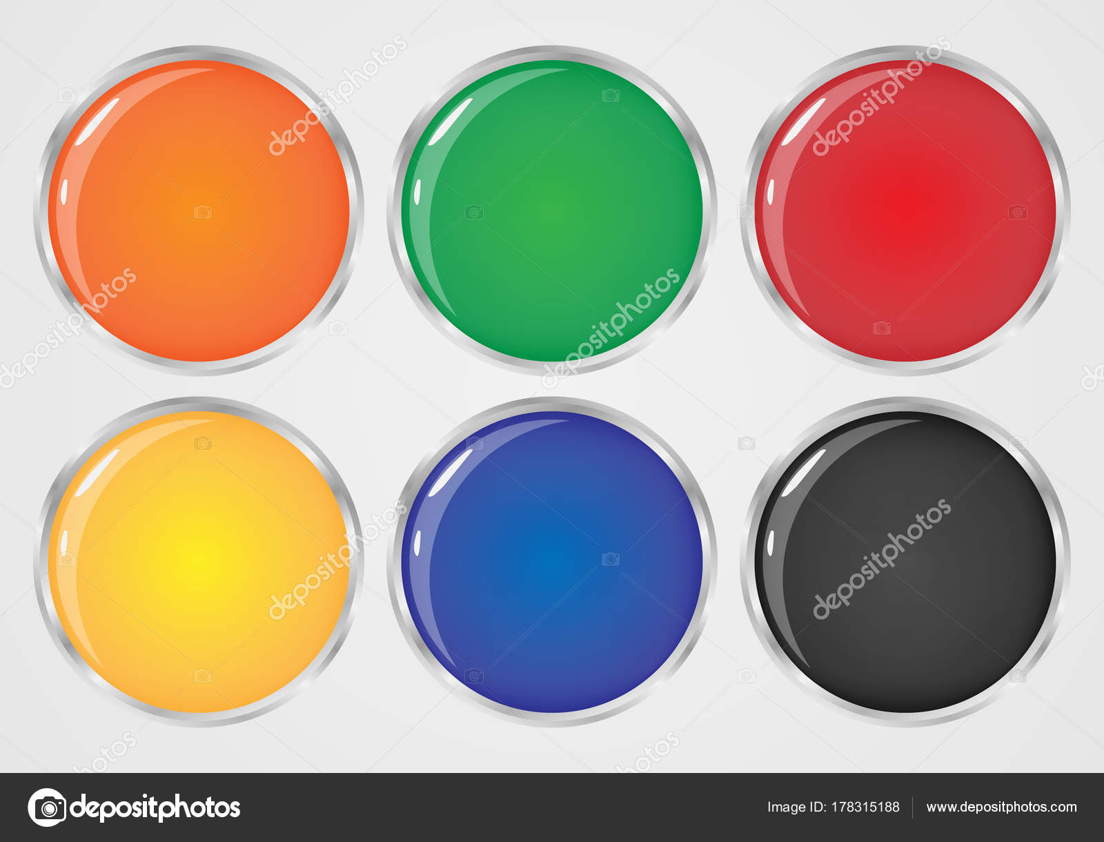 Set Colored Buttons Plastic Buttons Shape — Stock Vector ...