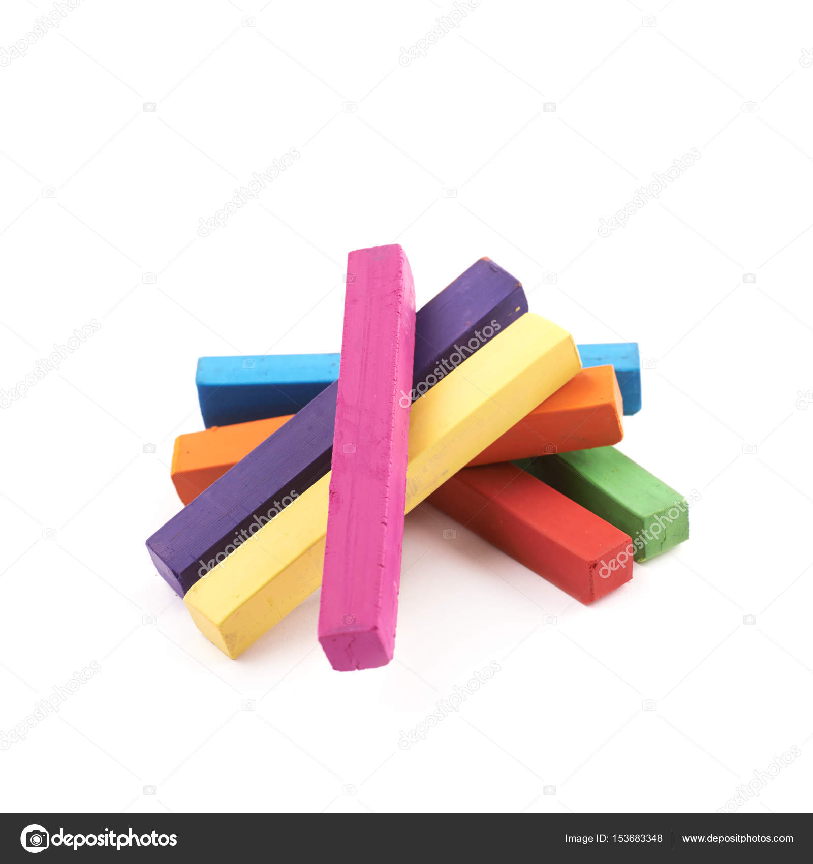 Pile of rainbow colored chalks isolated — Stock Photo © nbvf89 ...