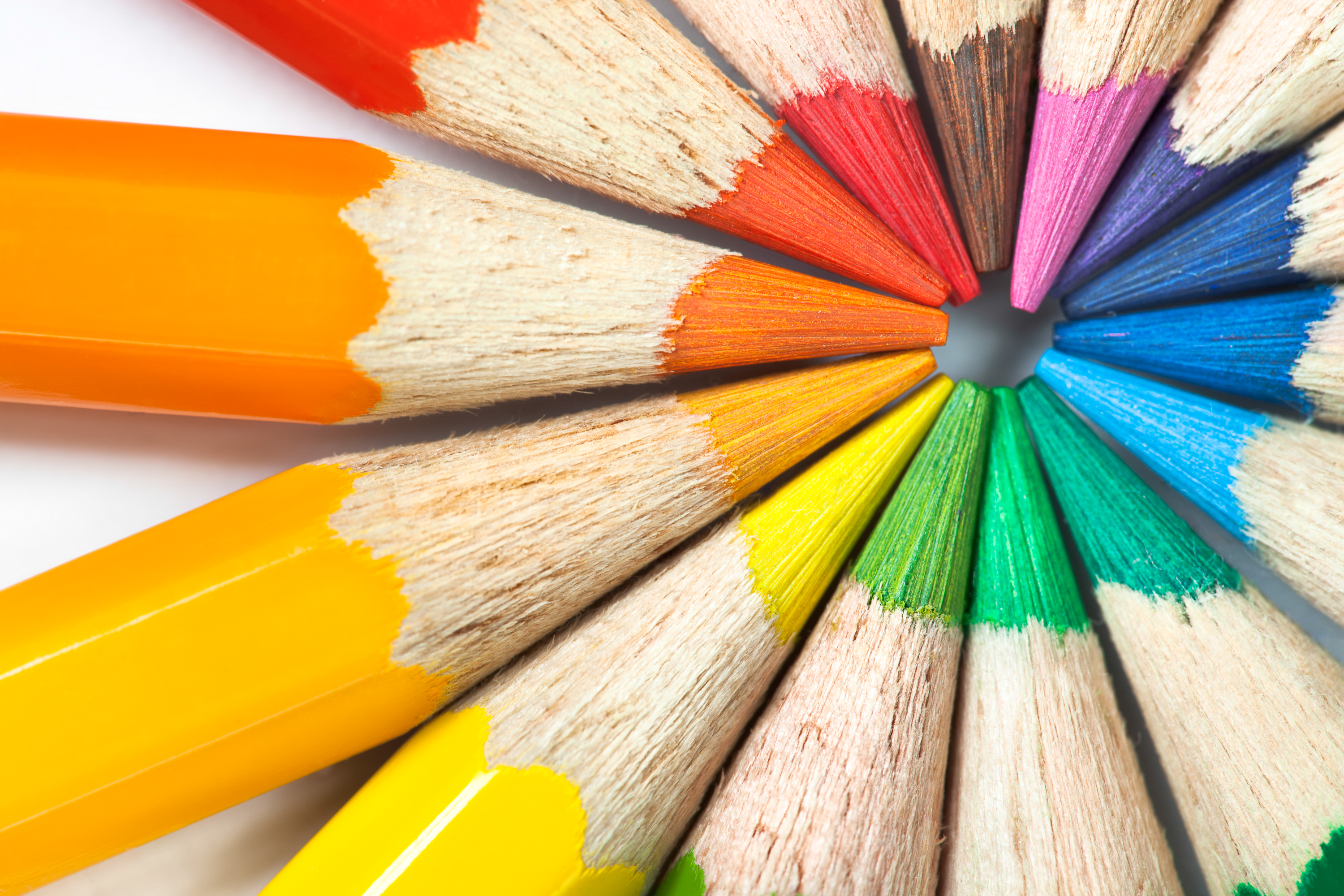 Colored pencils, Arrangement, Rainbow, Office, Orange, HQ Photo