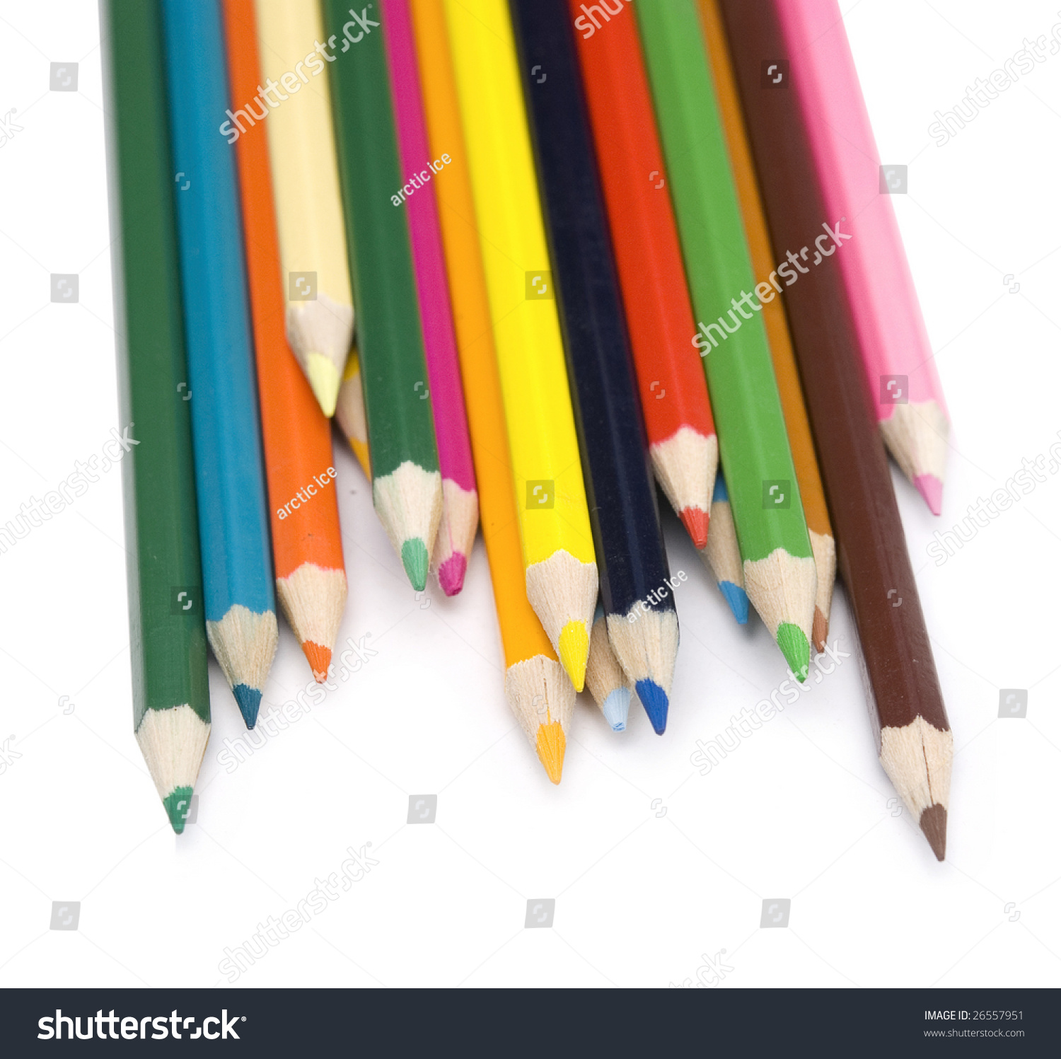 Colored Pencils On White Background Stock Photo 26557951 - Shutterstock