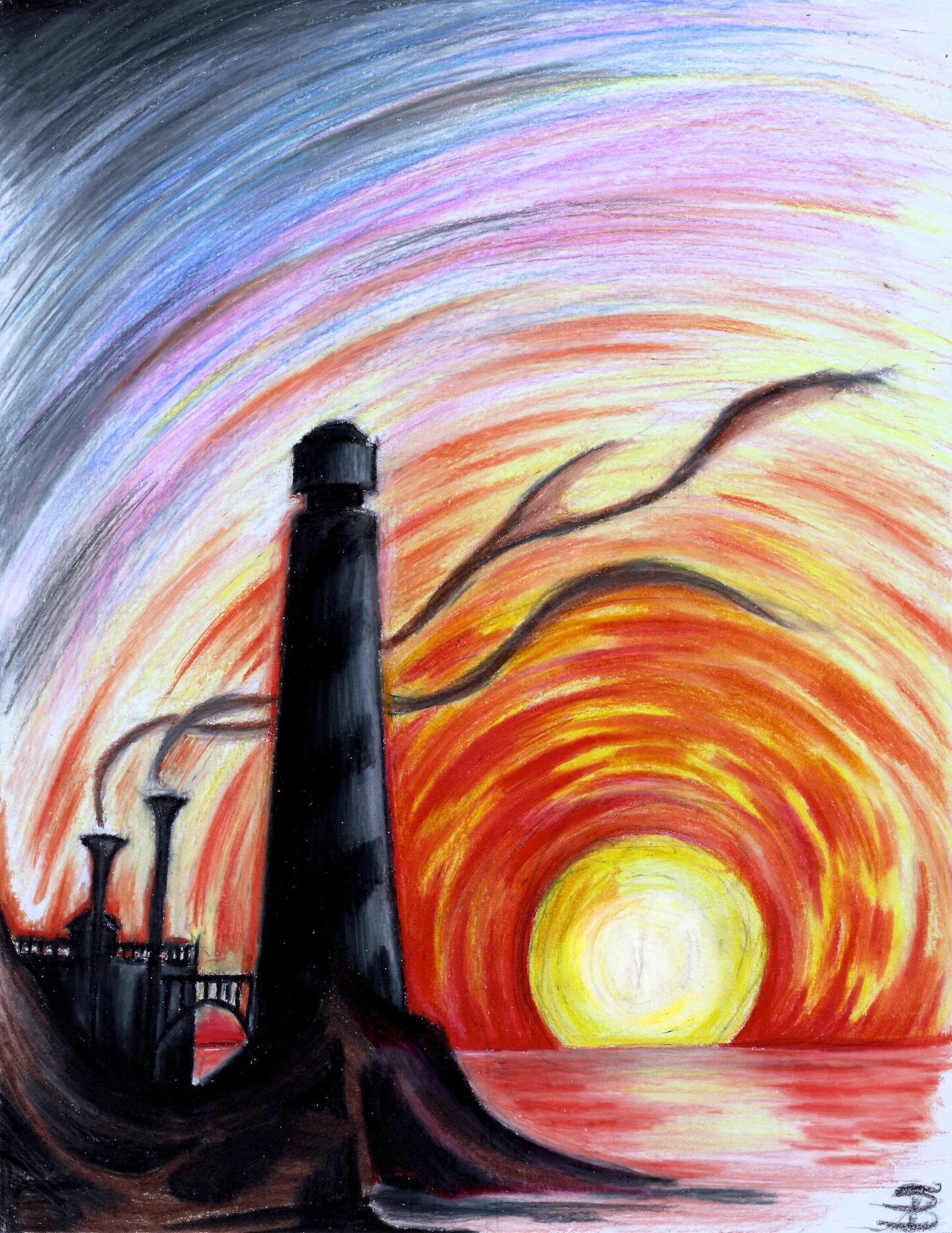 Lighthouse at Sunset (colored pencil) | Darkitecture | Pinterest ...