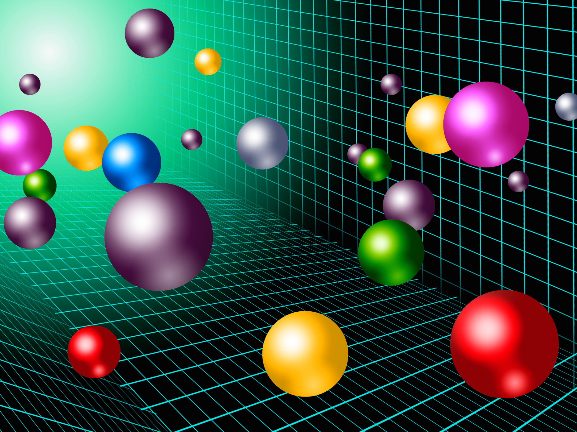 Colorful balls background shows rainbow circles and grid photo