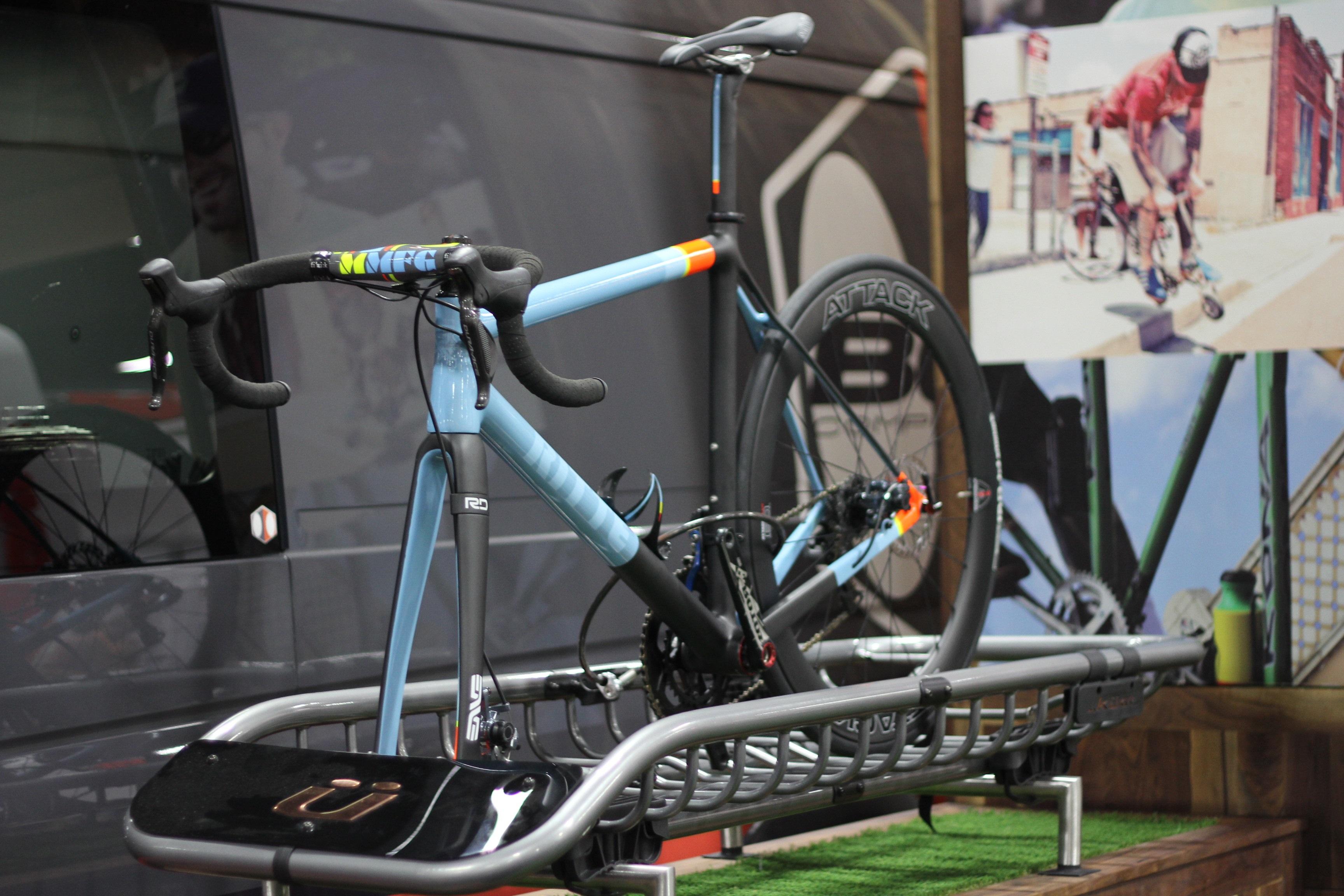 Colorful bike stand photo