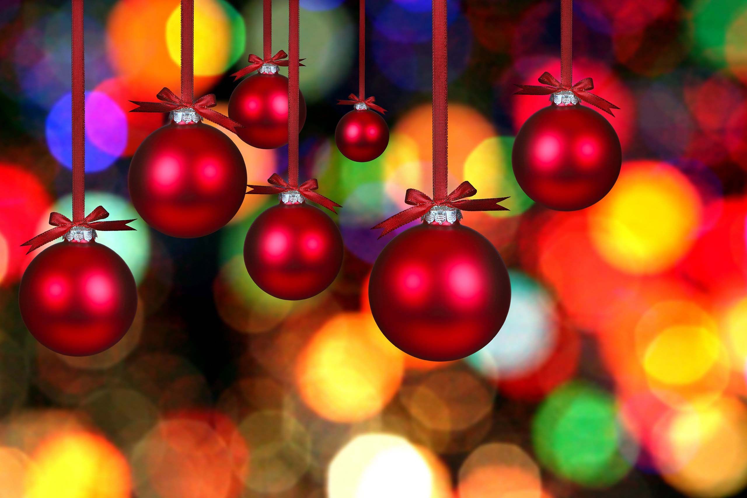 Colorful Christmas Balls.Free Photo Colorful Christmas Balls Red Reflection