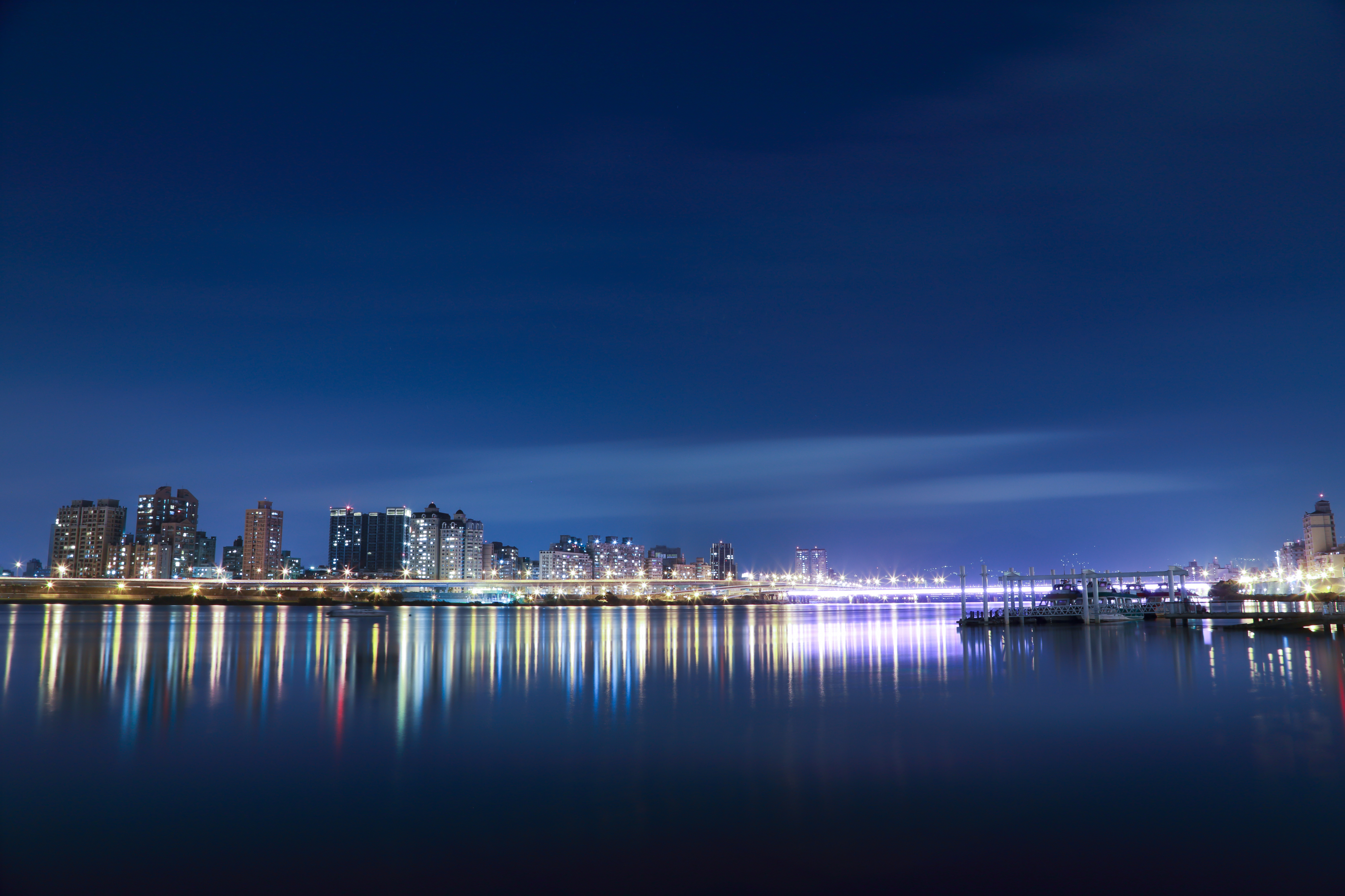 Colorful City Lights Reflected on Water, Background, Blue background, City, City lights, HQ Photo