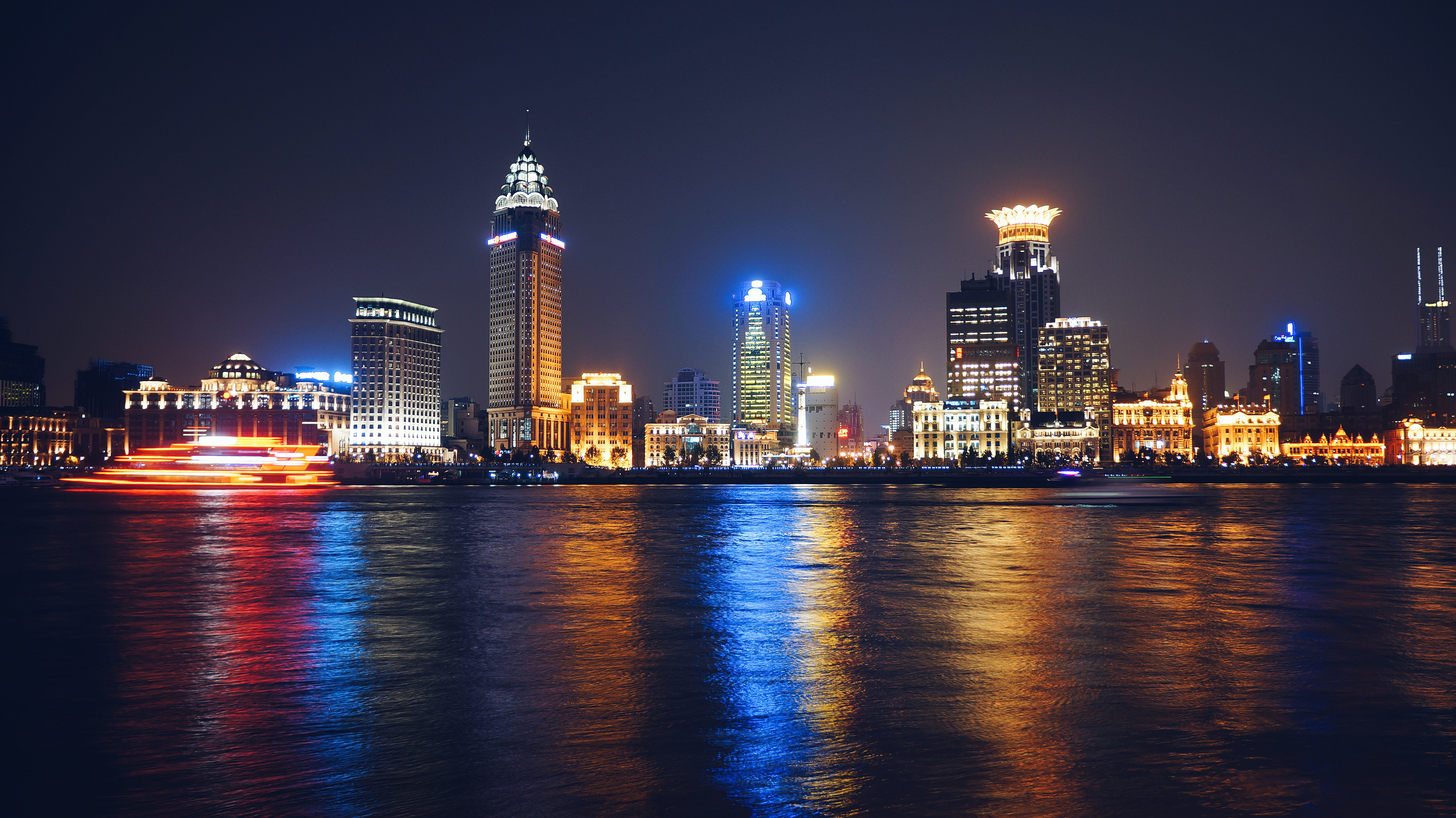 Colorful Coastal Cityscape at Night, Skyline, Reflection, Public domain, Outdoor, HQ Photo