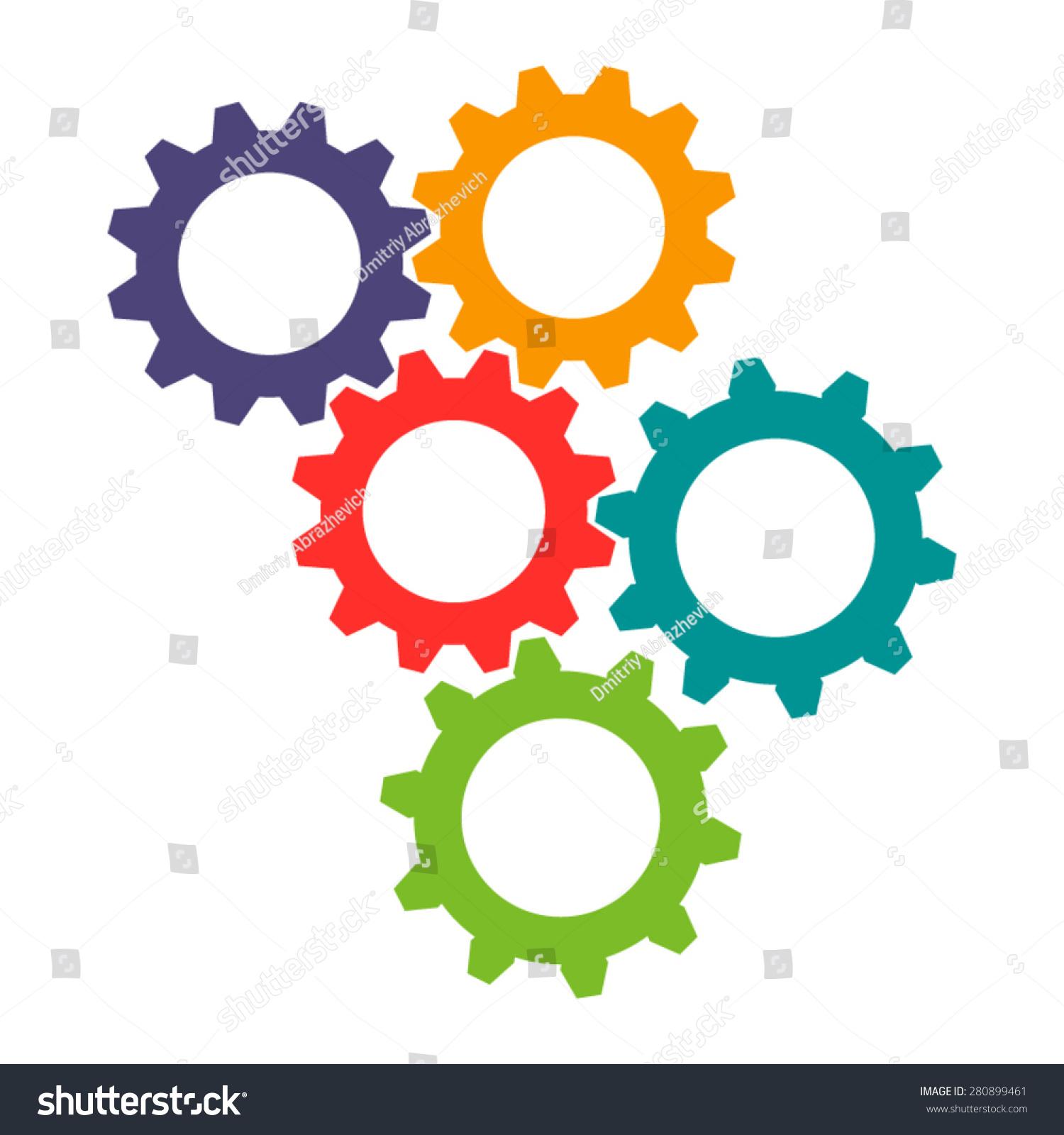 Vector Colorful Gears Icon Flat Design Stock Photo (Photo, Vector ...