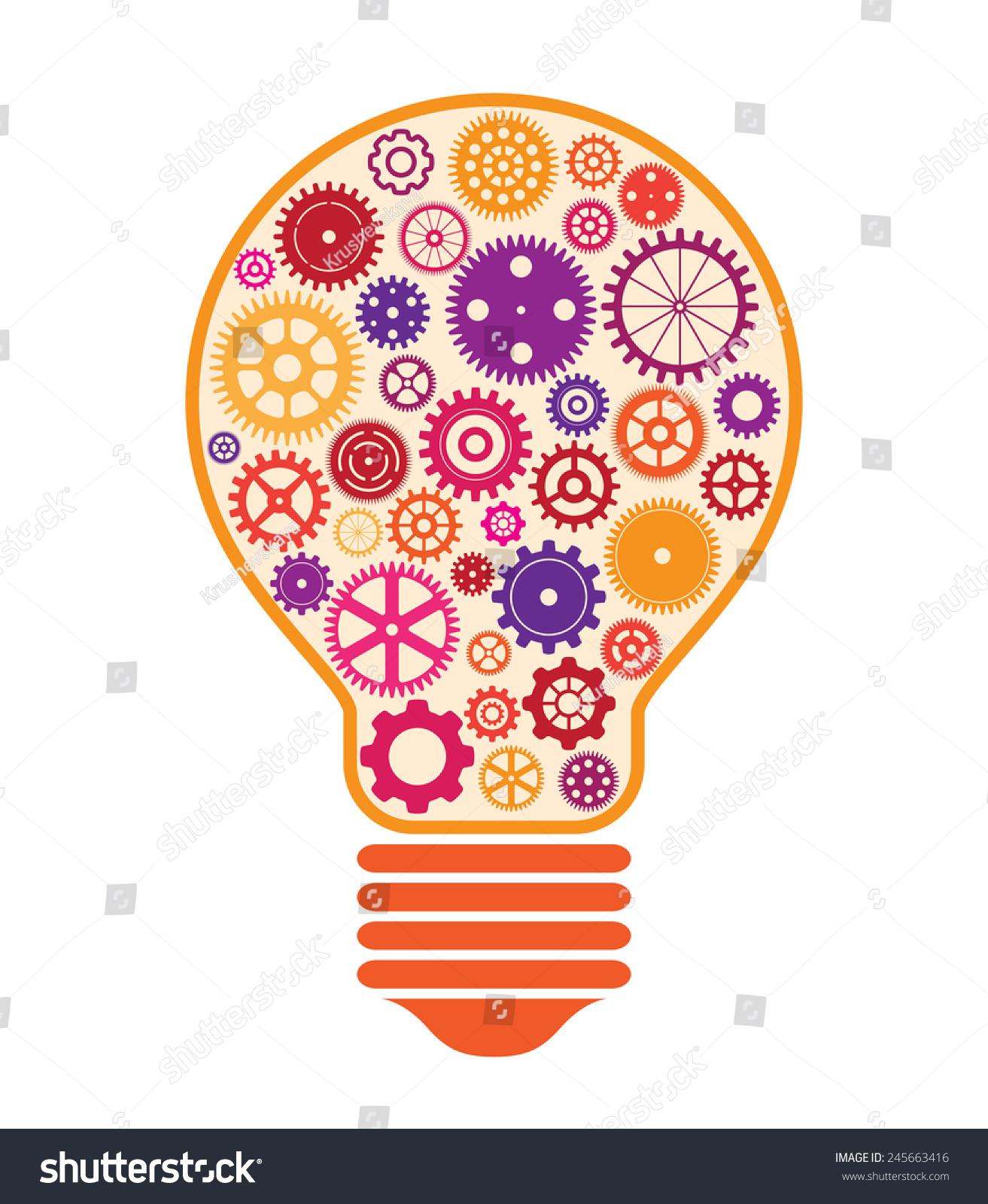 Illustration Light Bulb Made Colorful Cogwheels Stock Illustration ...