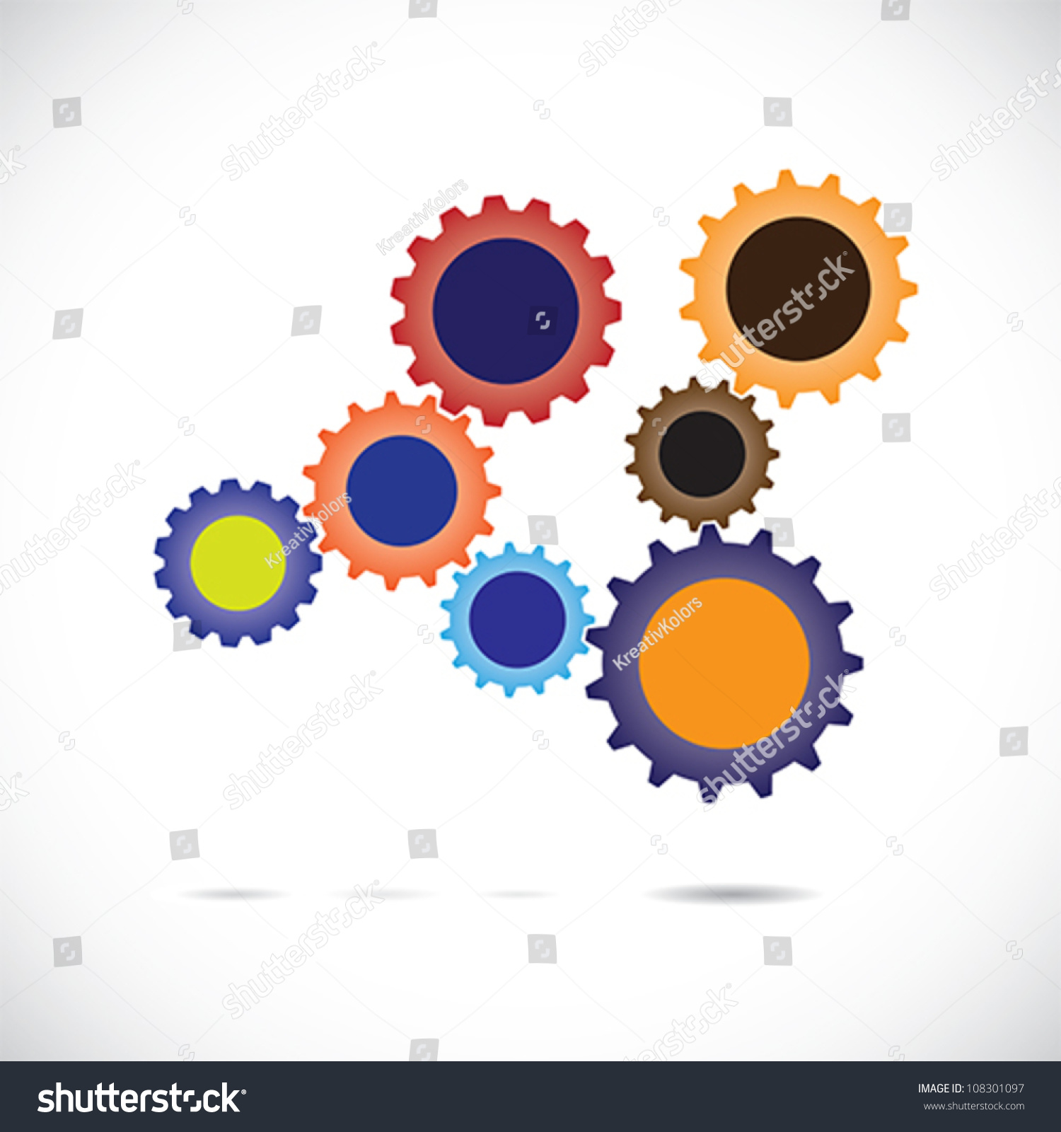 Colorful Abstract Cogwheels Gears Controlled Rotating Stock Vector ...