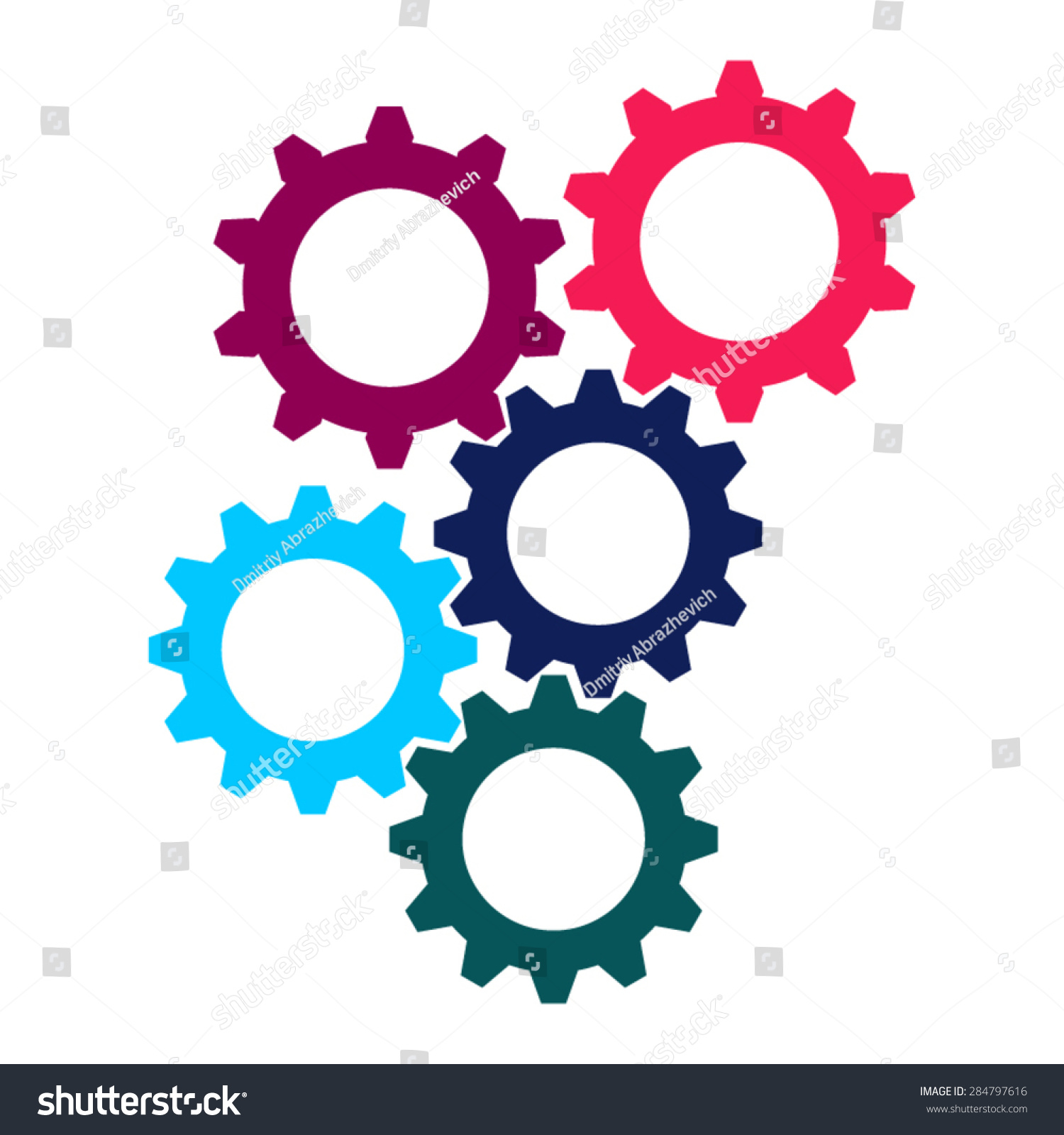 Vector Colorful Gears Icon Flat Design Stock Vector 284797616 ...