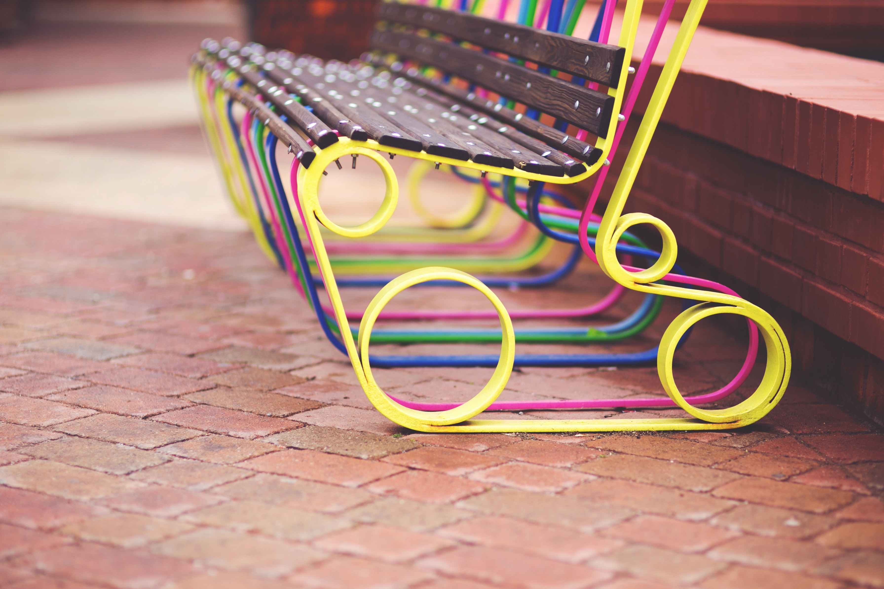 Colorful design bench on the street, Bench, City, Colorful, Colourful, HQ Photo