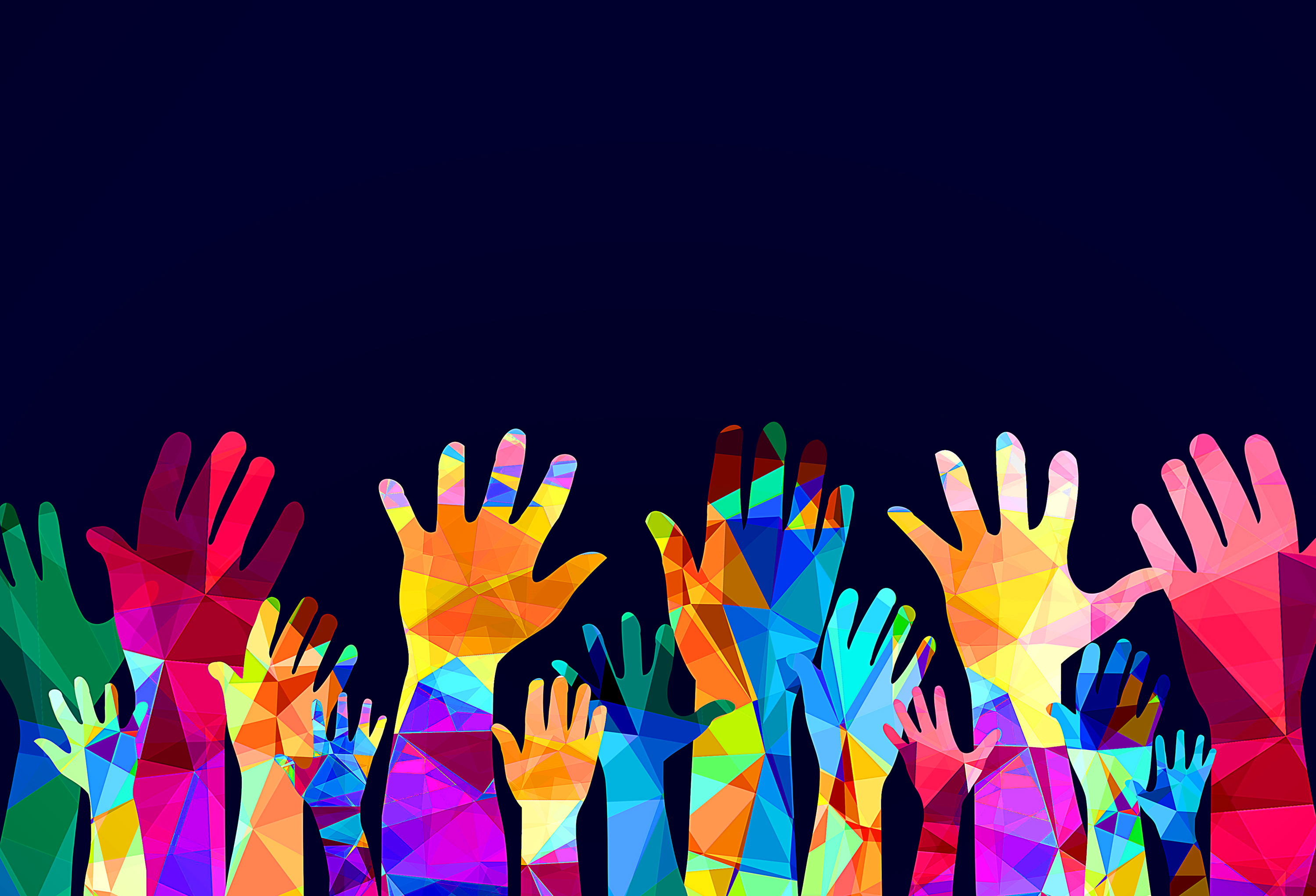 Colorful hands up - happiness or help photo