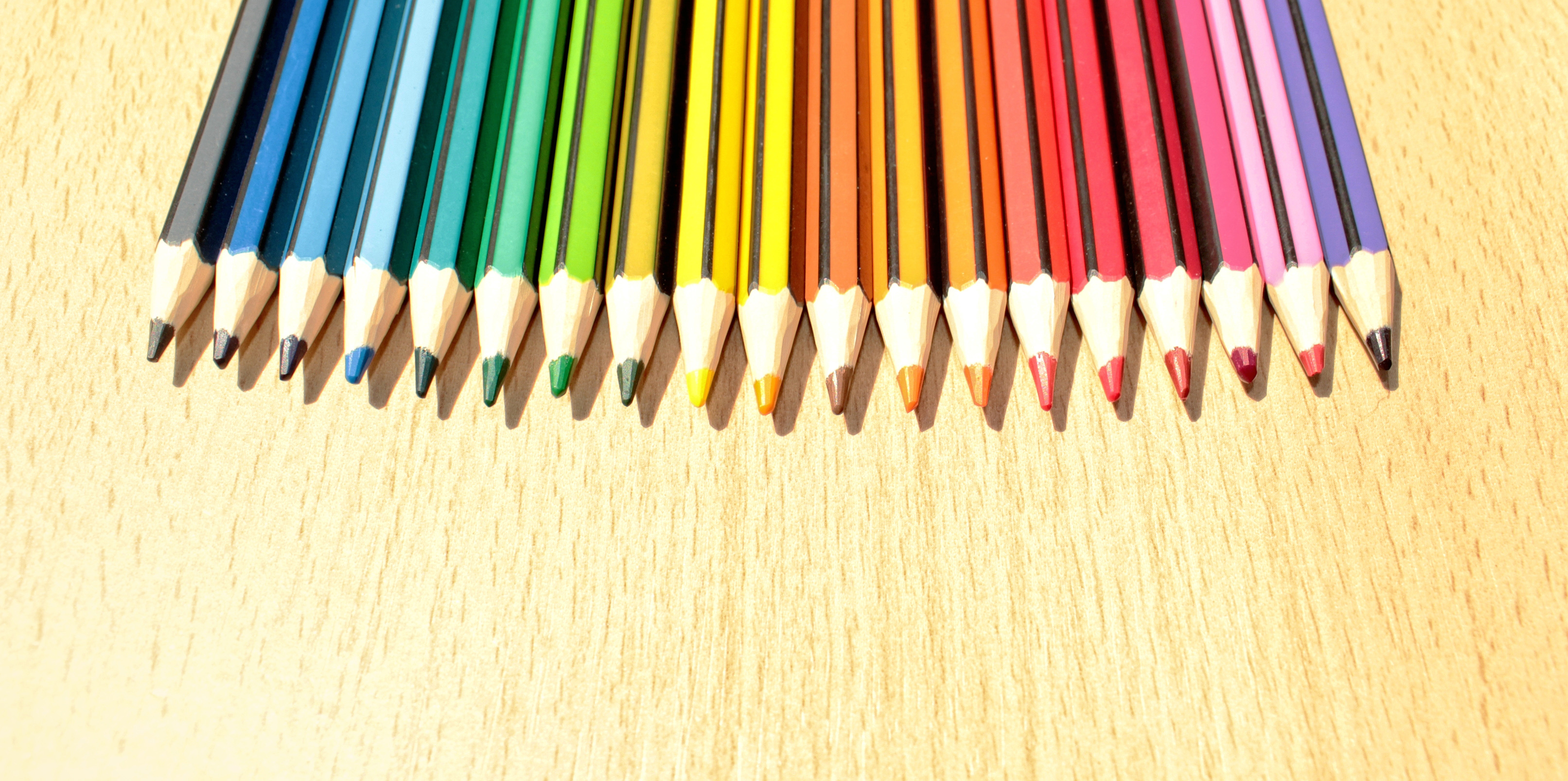 Colorful Pencils in a Row with Copyspace, Abstract, School, Nobody, Object, HQ Photo
