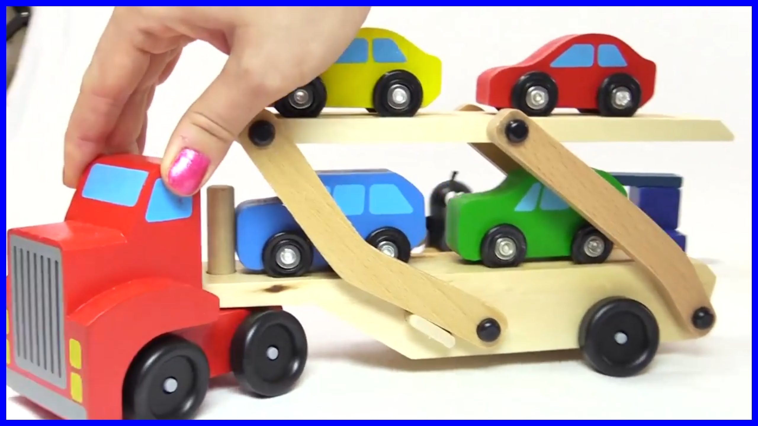 Colors for kids with a car transporter & toy cars. - YouTube