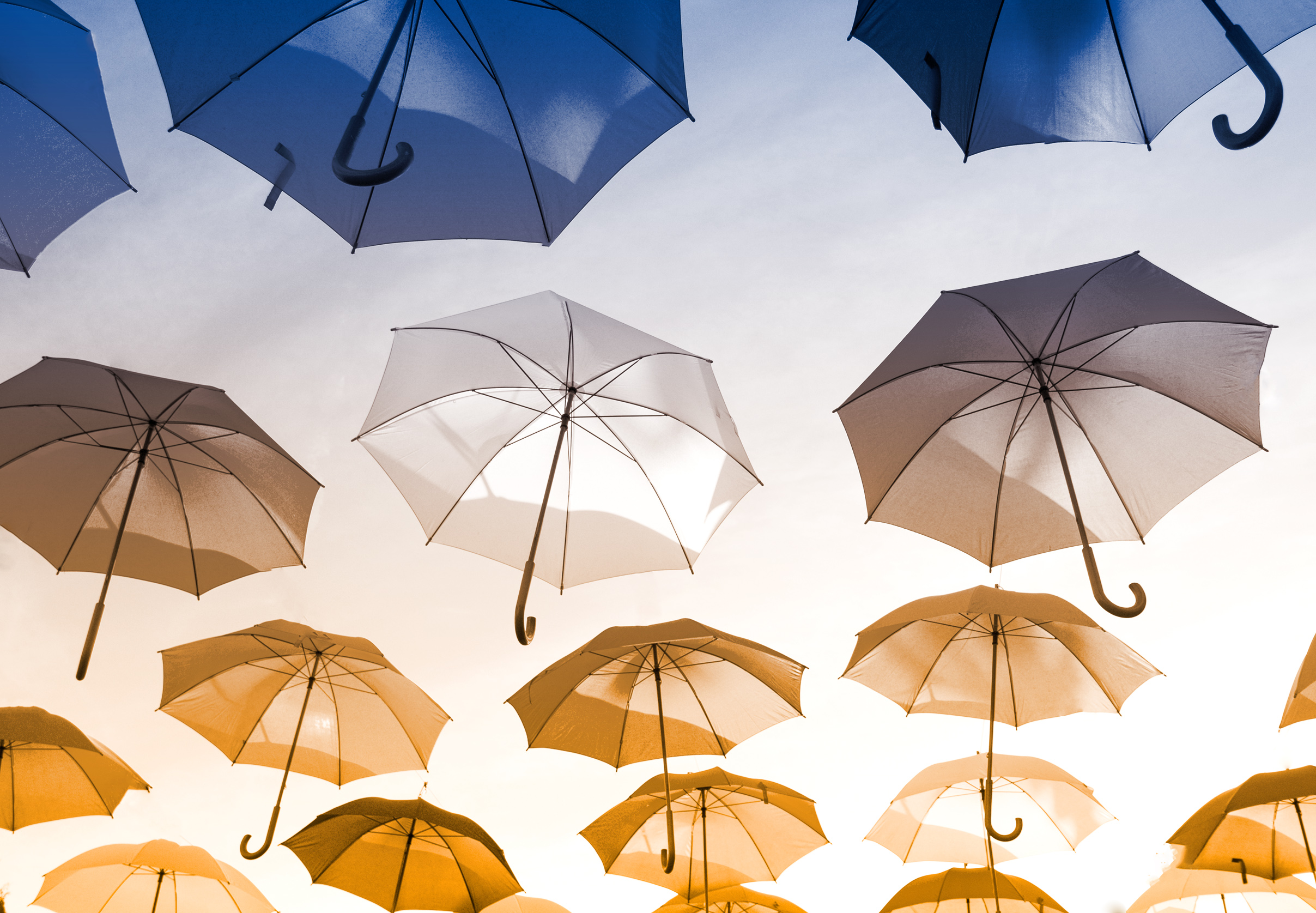 Colorful Umbrellas Hanging in the Air, Abstract, Sky, Light, Multicolored, HQ Photo