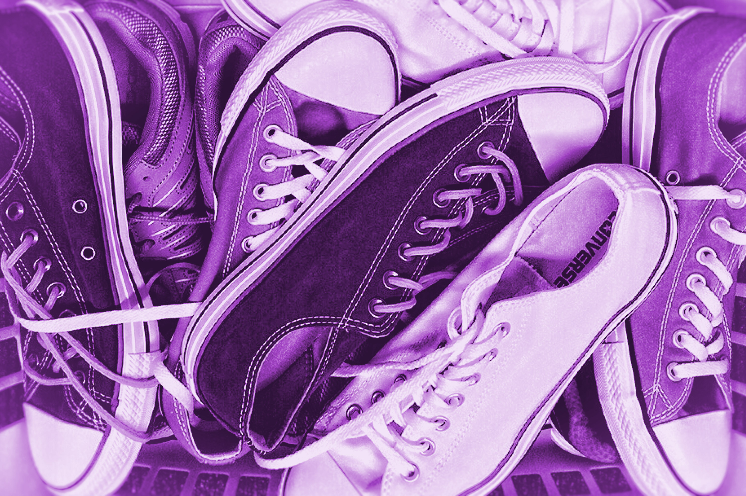 Colorized sneakers - old sneakers photo