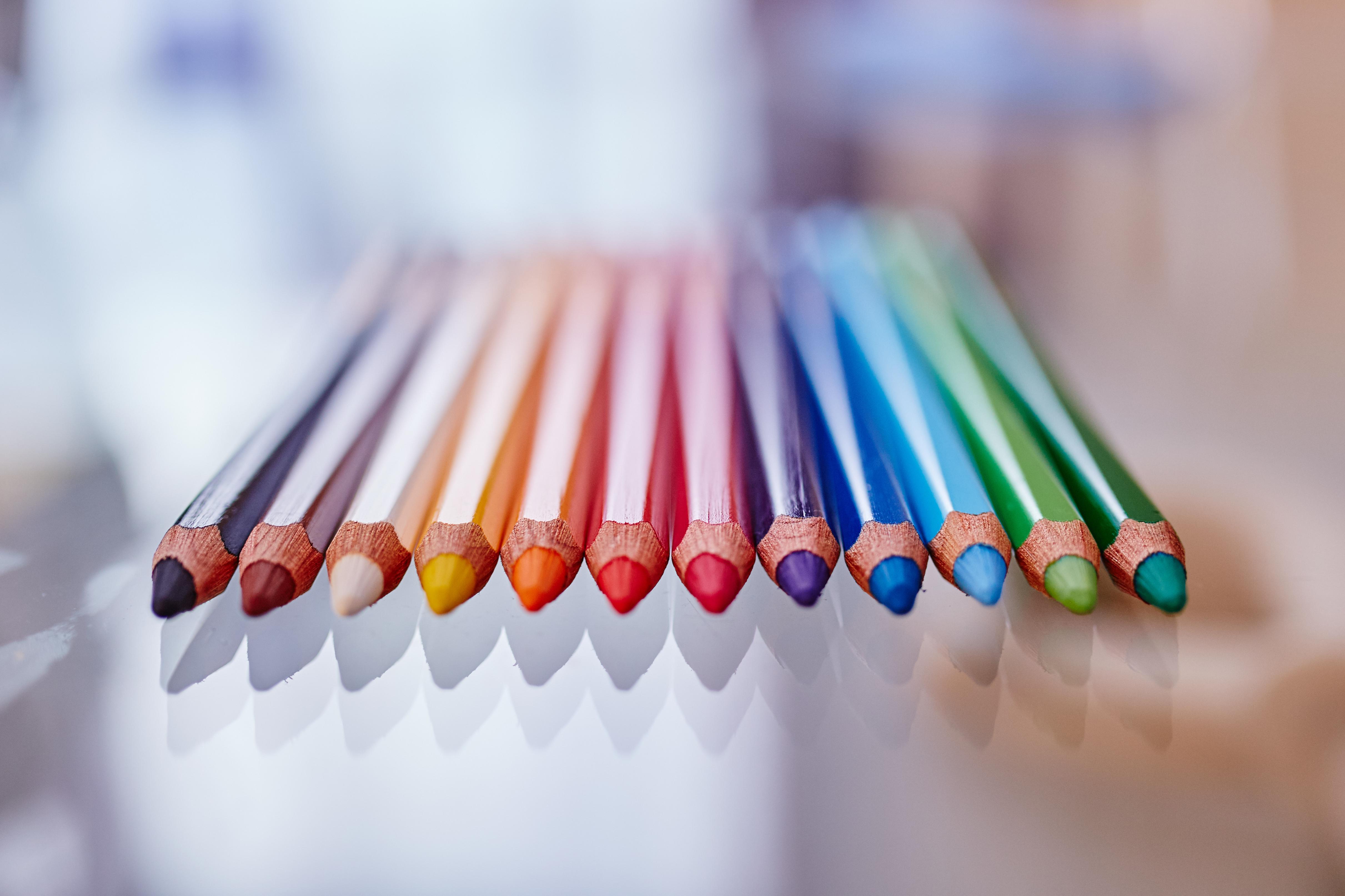 Colors, Blue, Green, Pencils, Pink, HQ Photo