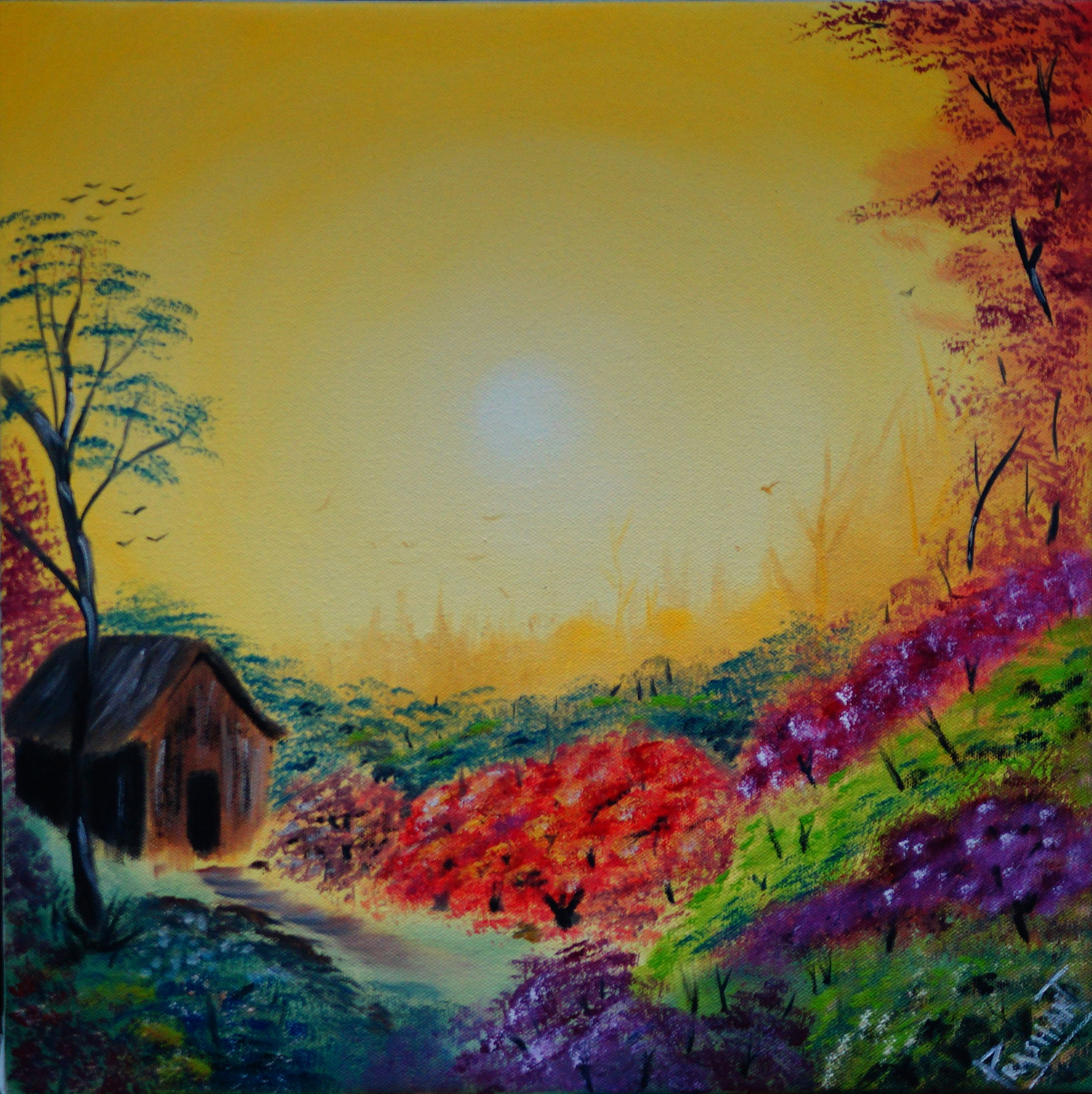 The beautiful sunny day with colors of nature. This is an oil ...