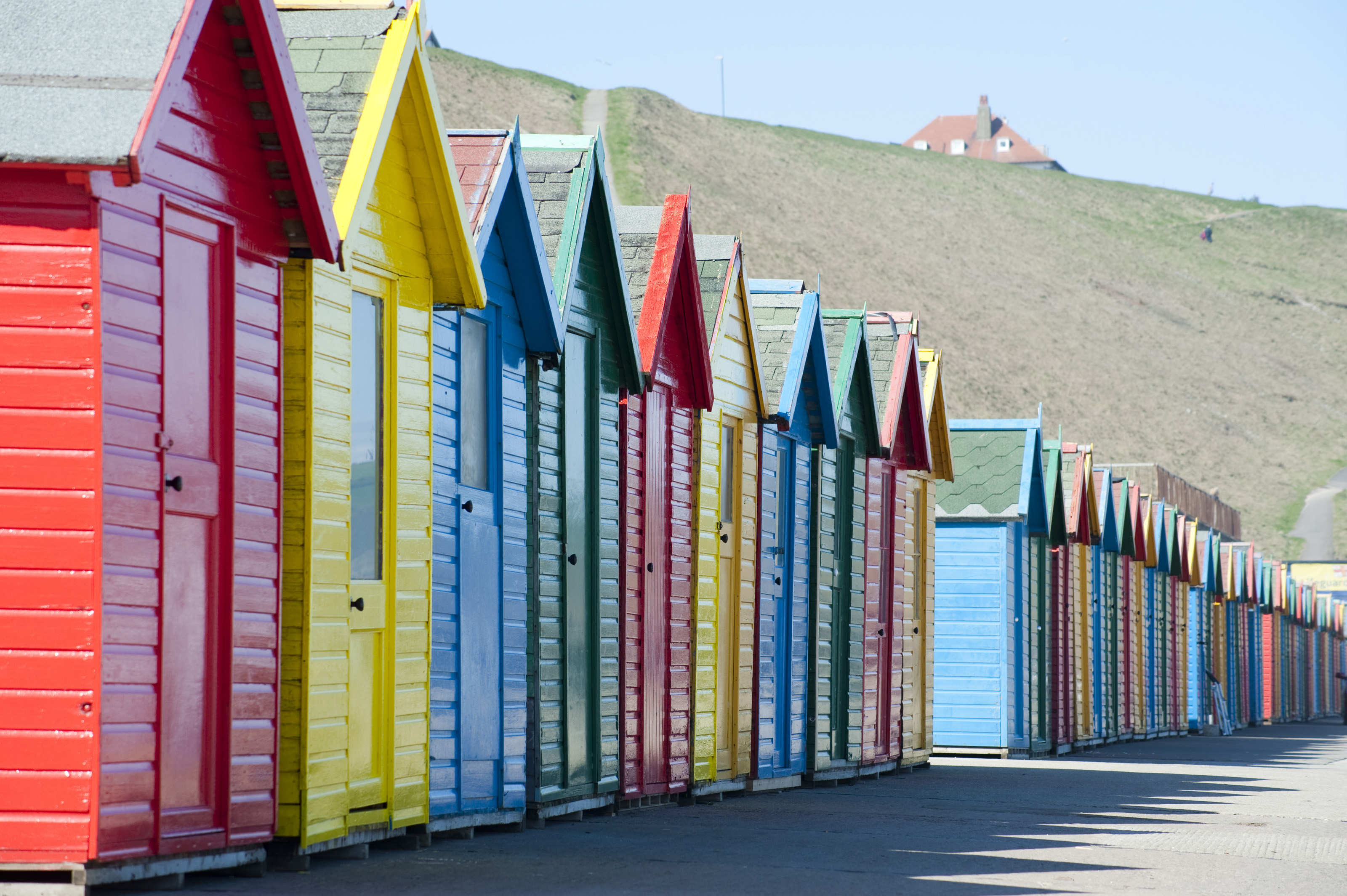 Coloured beach huts photo