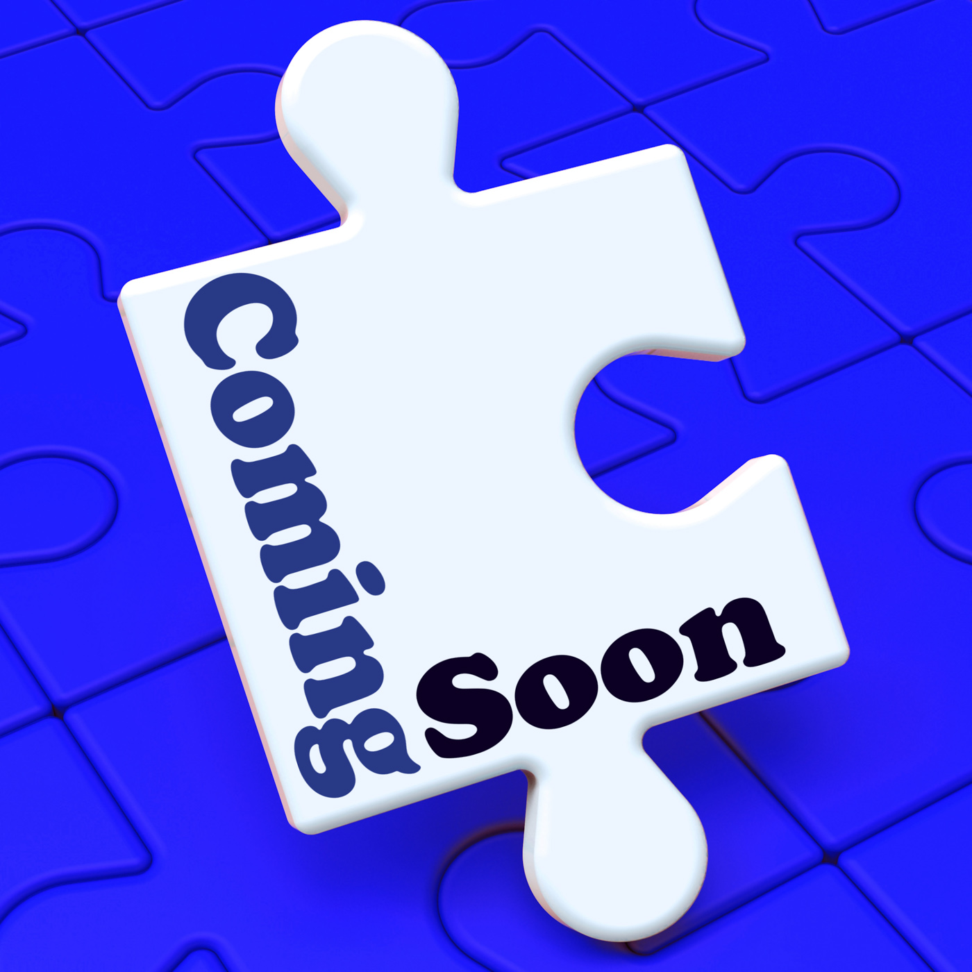 Coming soon puzzle shows new arrival or promotion product photo