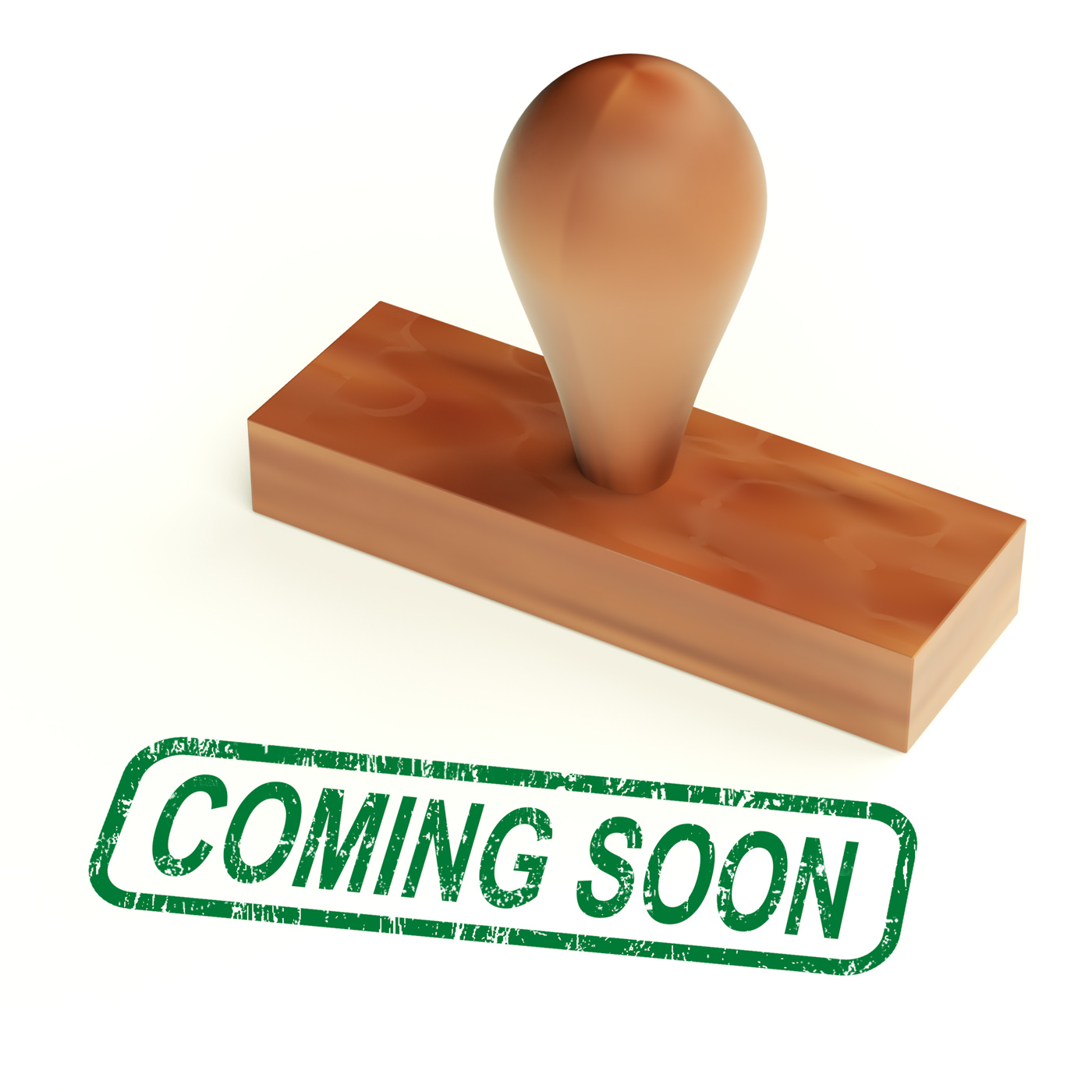 Coming soon rubber stamp showing new product announcement photo