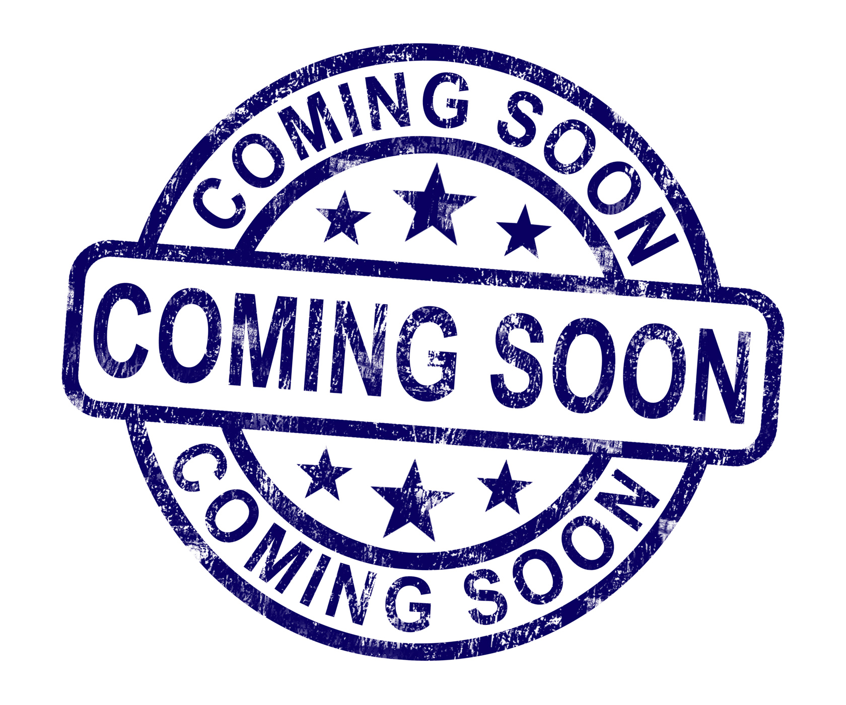Coming soon stamp showing new product arrival announcement photo