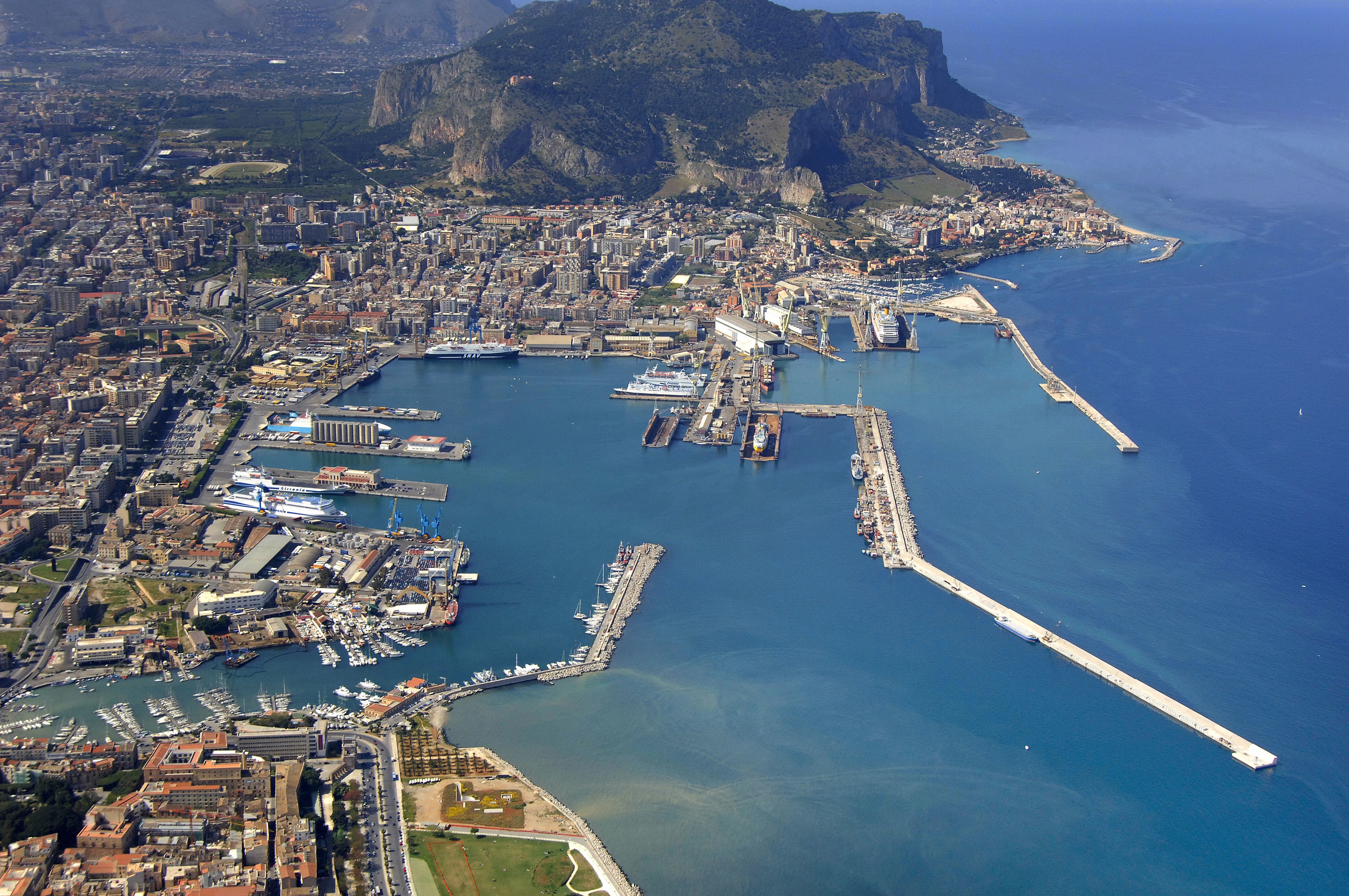 Palermo Commercial Port Harbor in Palermo, Sicily, Italy - harbor ...