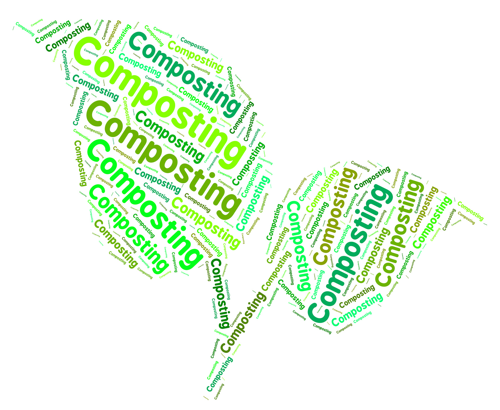 Composting word shows flower garden and composted photo