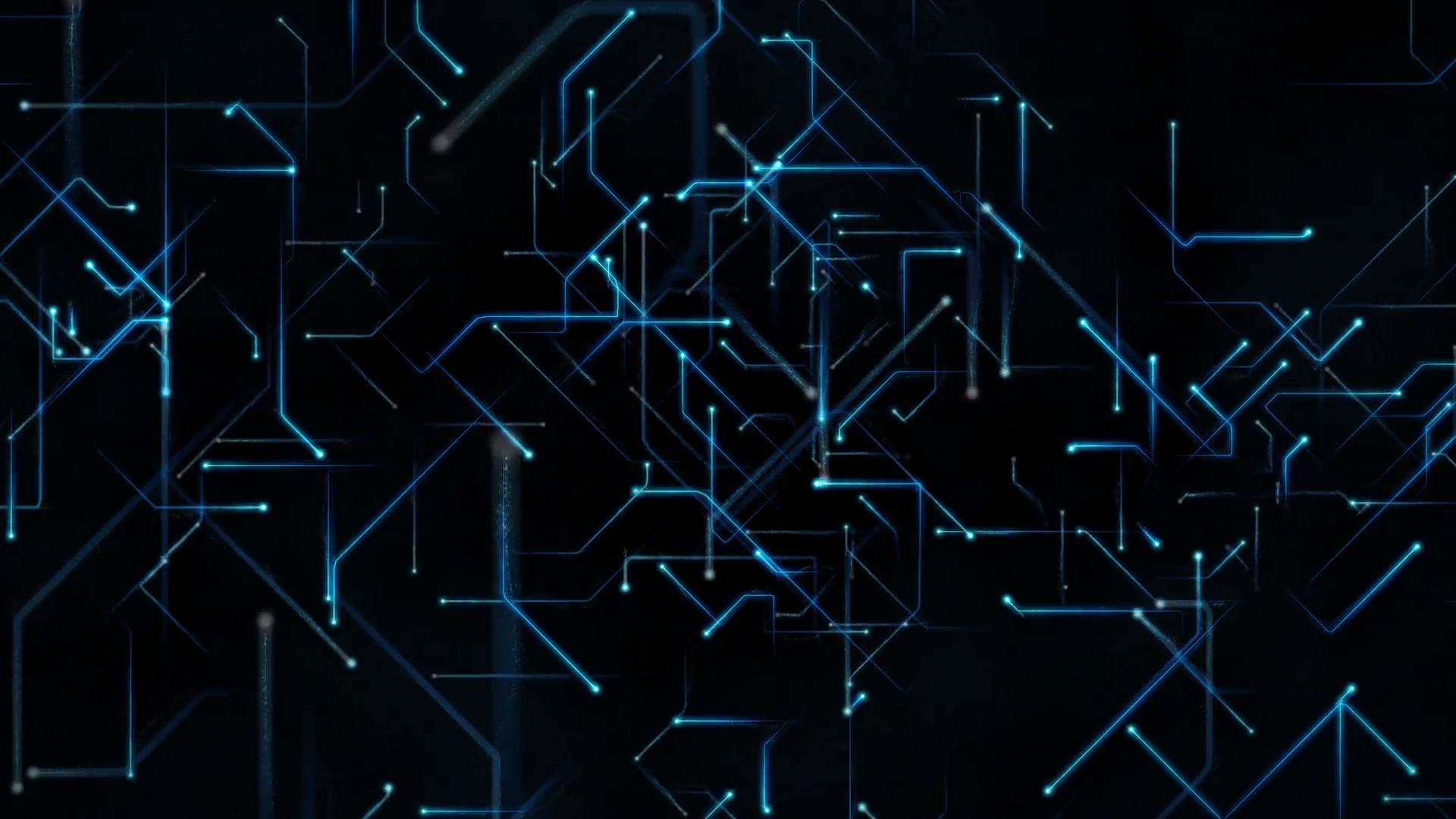 Computer Circuit Board Sending Data in 3D Loop Motion Background ...