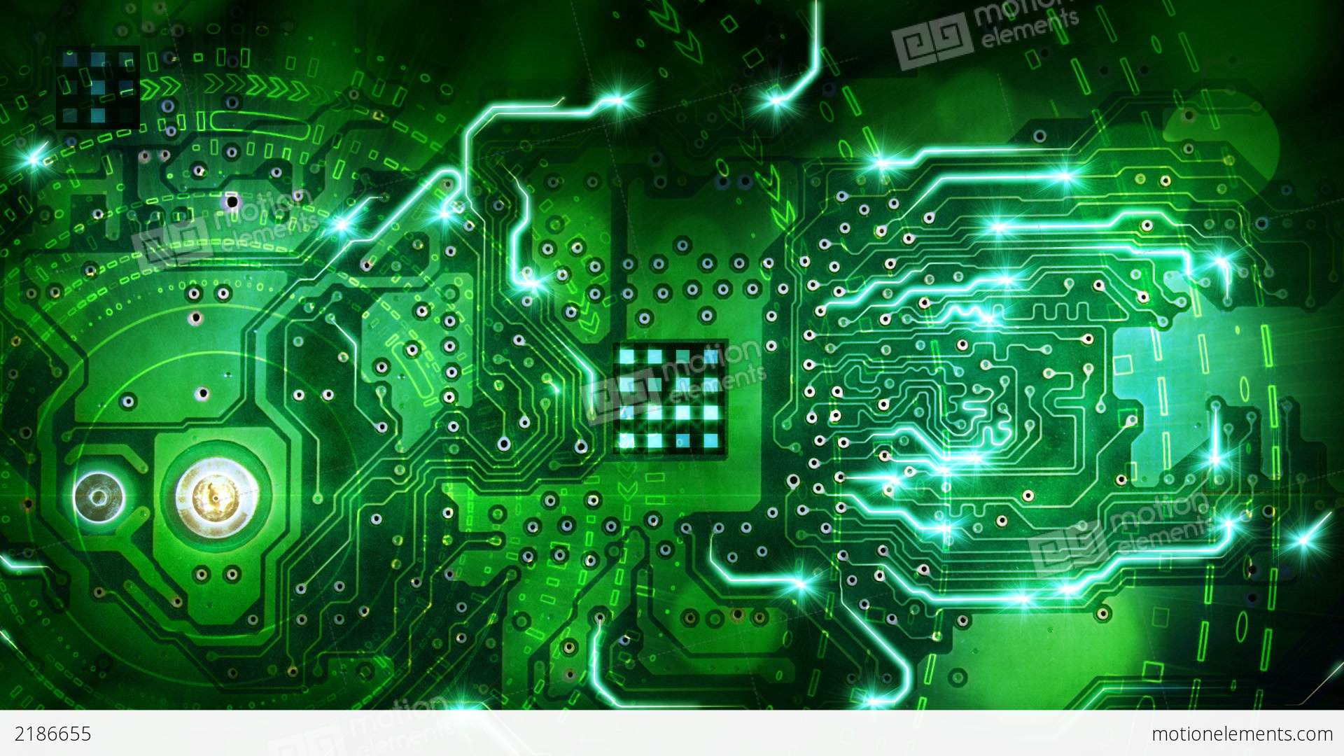 Green Computer Circuit Board Background Loop Stock Animation | 2186655