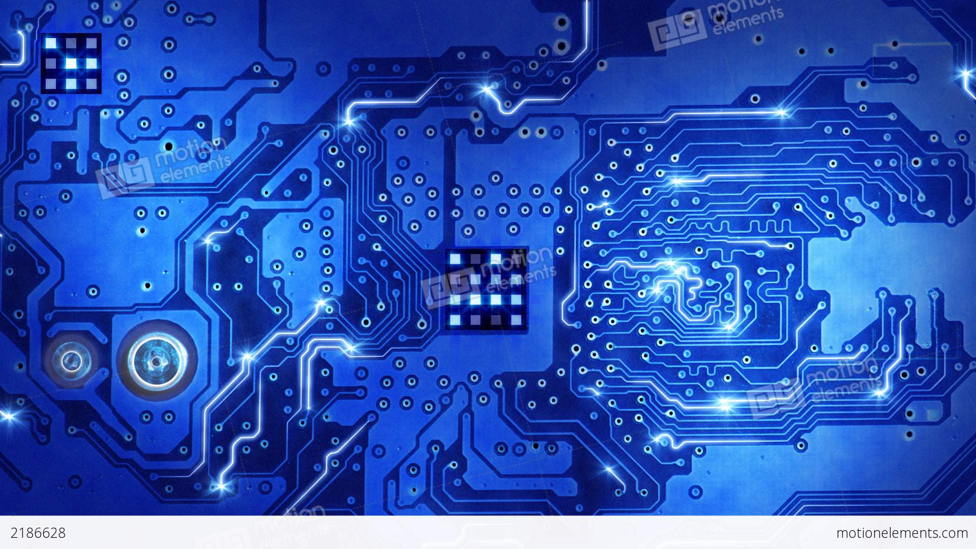 Computer Circuit Board Blue Loopable Background Stock Animation ...
