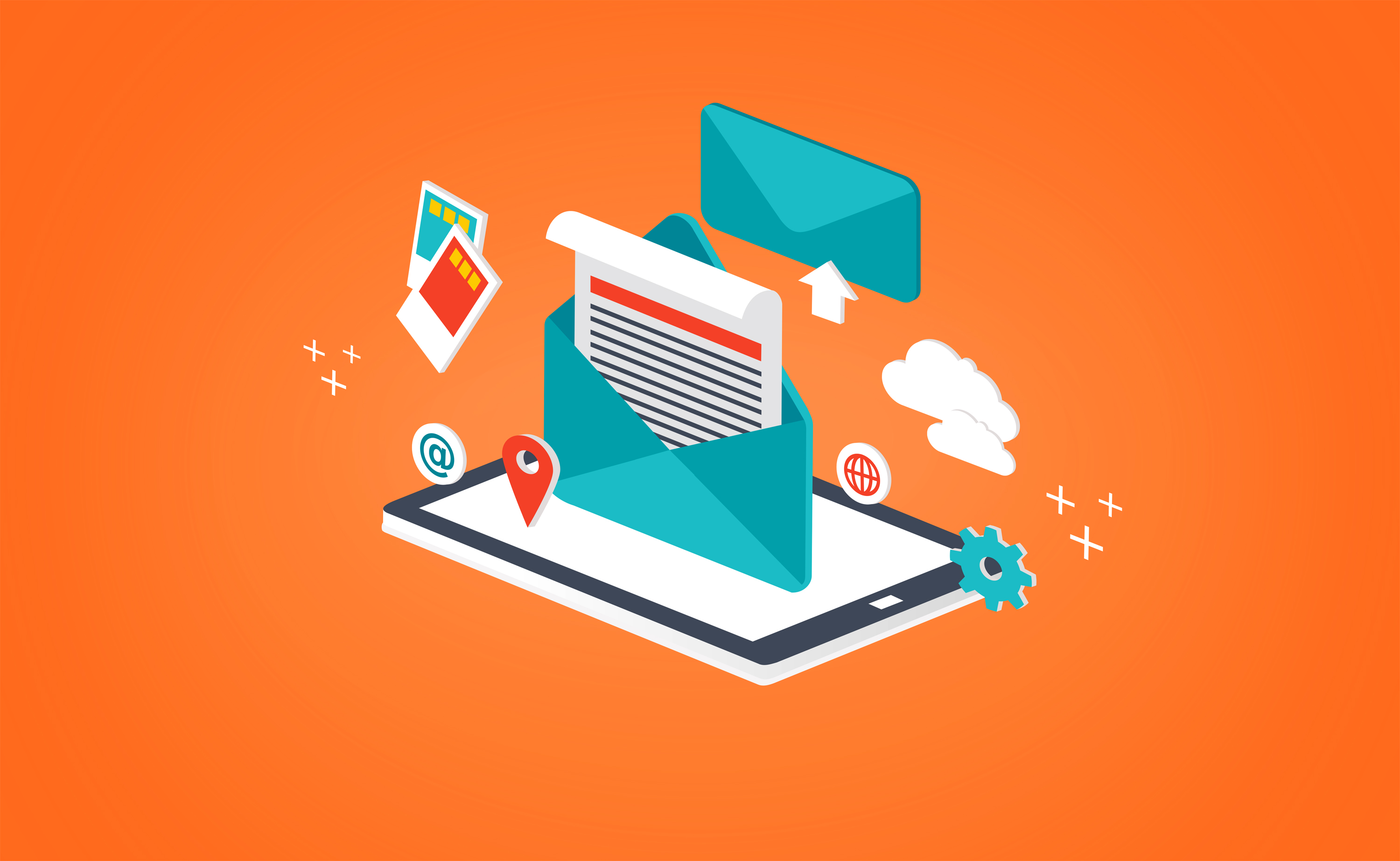 Concept of sending and receiving e-mail photo