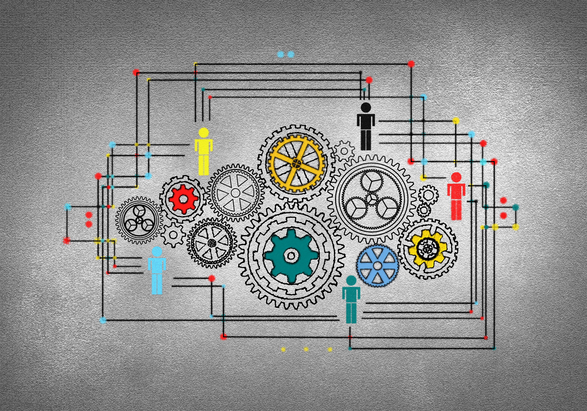 Concept of work - a person drawing cogwheels photo