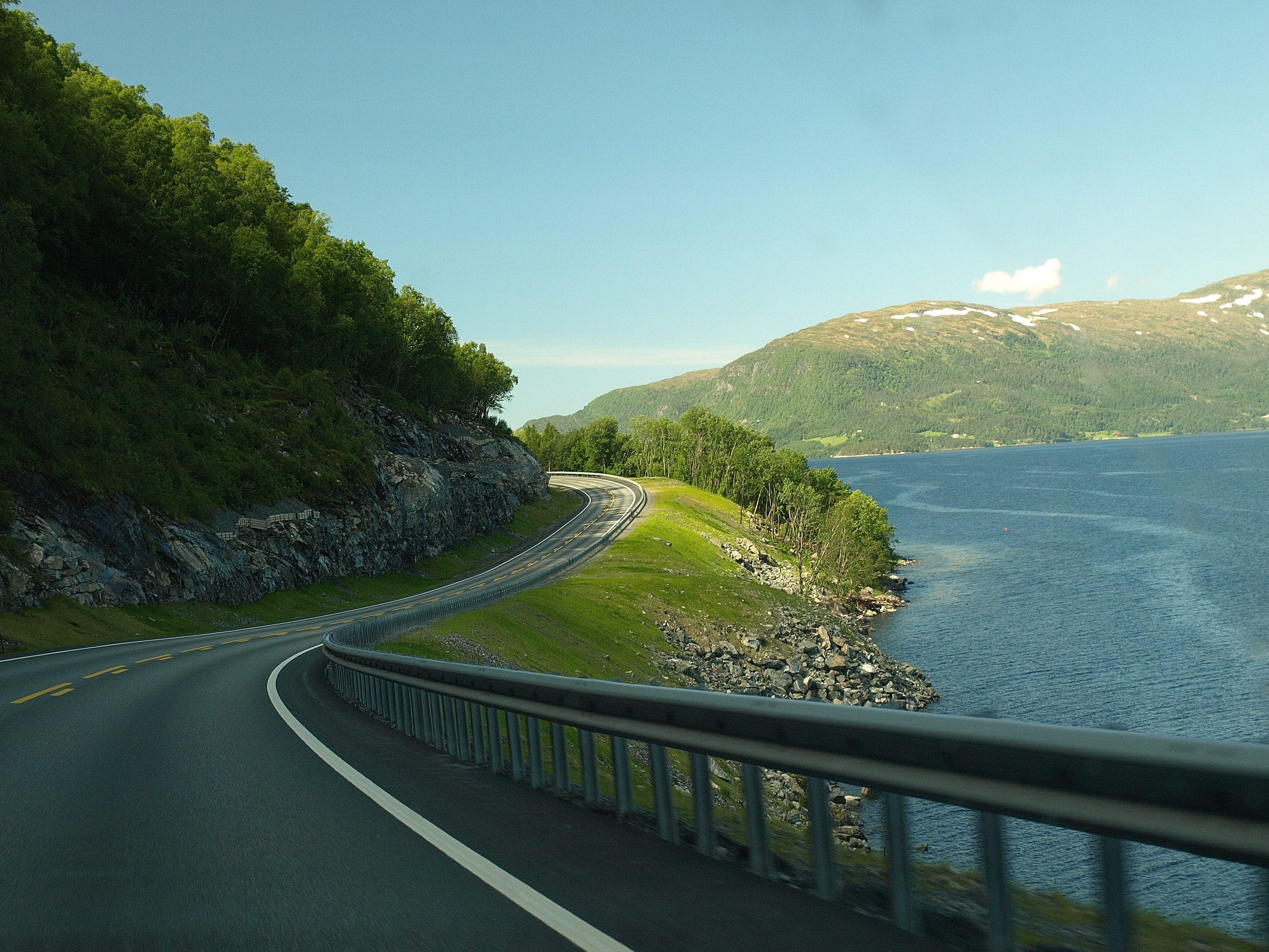 Concrete Road Near Body Of Water, Travel, Sky, Trees, Trip, HQ Photo