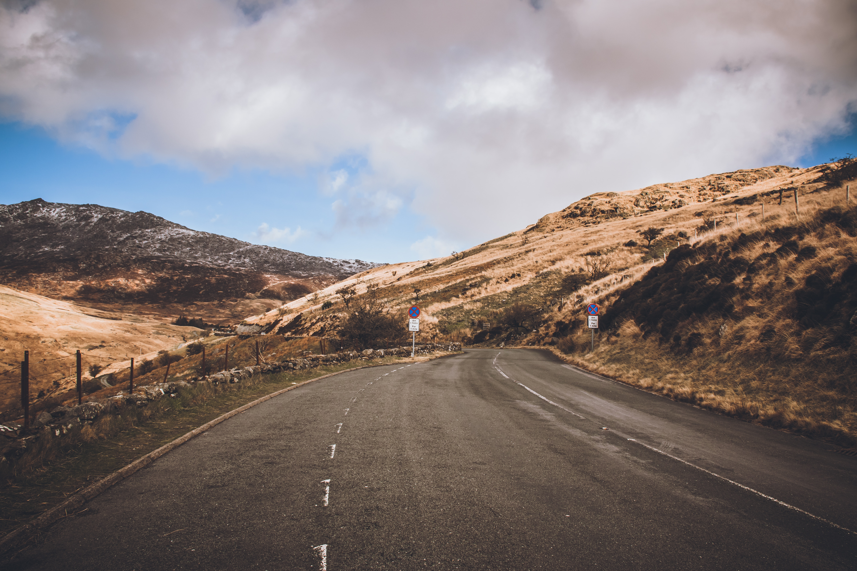 Concrete Road Near Mountains, Asphalt, Clouds, Grass, Mountain, HQ Photo